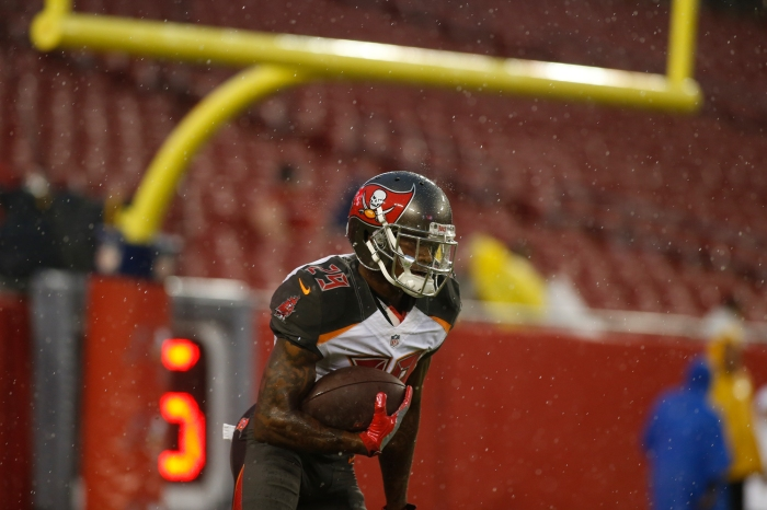 Cornerback Ryan Smith #29 of the Tampa Bay Buccaneers warms up before the start of an NFL game against the Washington Redskins on August 31, 2016 at Raymond James Stadium in Tampa, Florida.