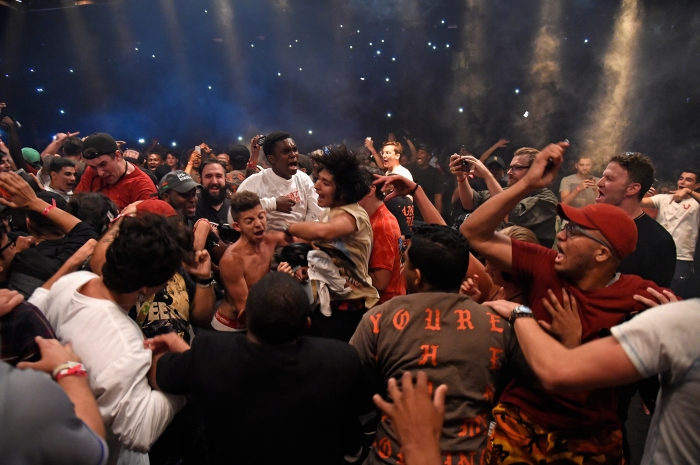 Fans mosh in the crowd as Kanye West performs during The Saint Pablo Tour at Madison Square Garden on September 5, 2016 in New York City.