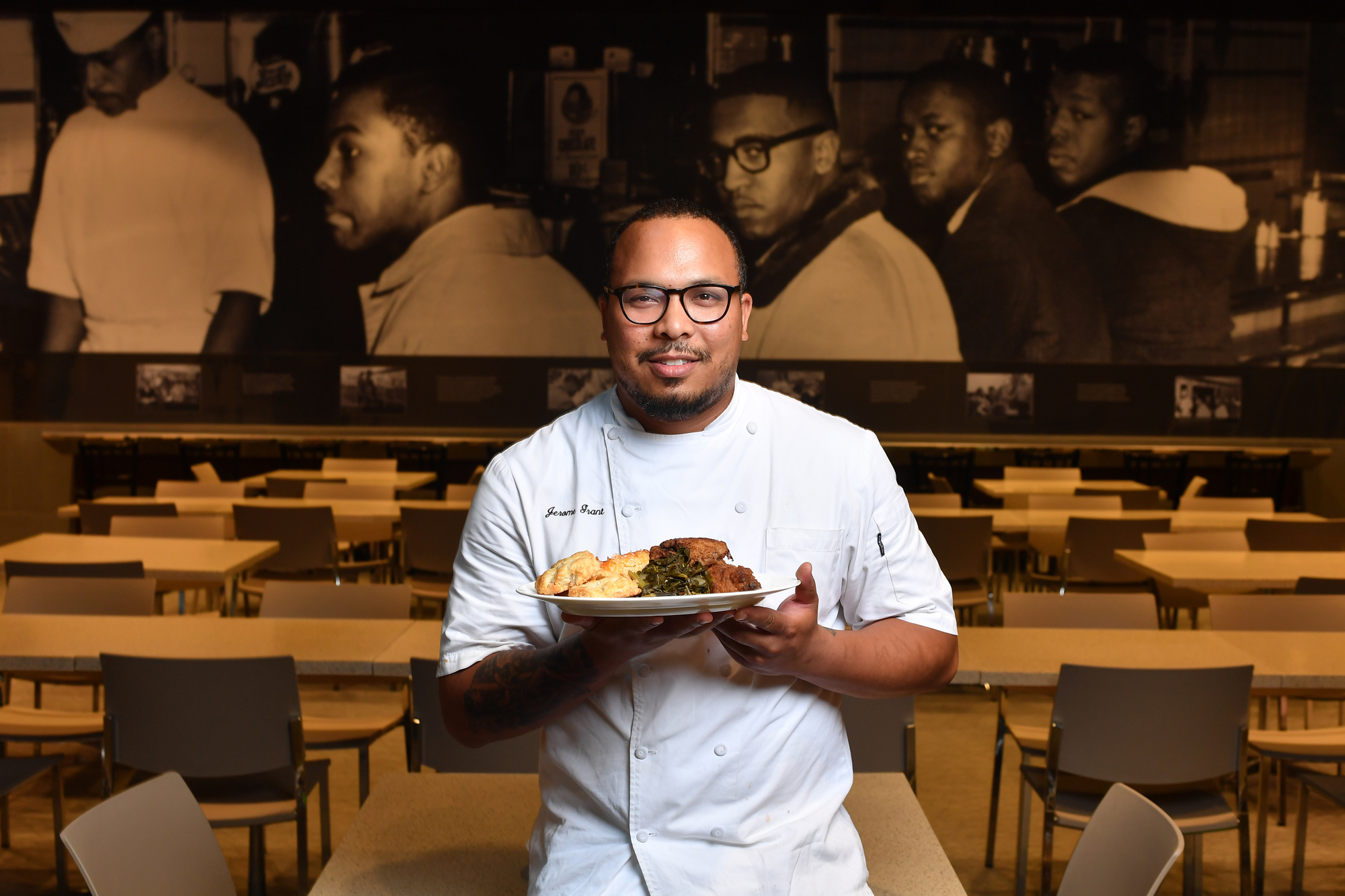 Jerome Grant is the head chef at Sweet Home Cafe, the restaurant at The National African American Museum of History and Culture in Washington, D.C. on September 14, 2016.