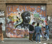 A memorial to the late Tupac Shakur on the Lower East Side.