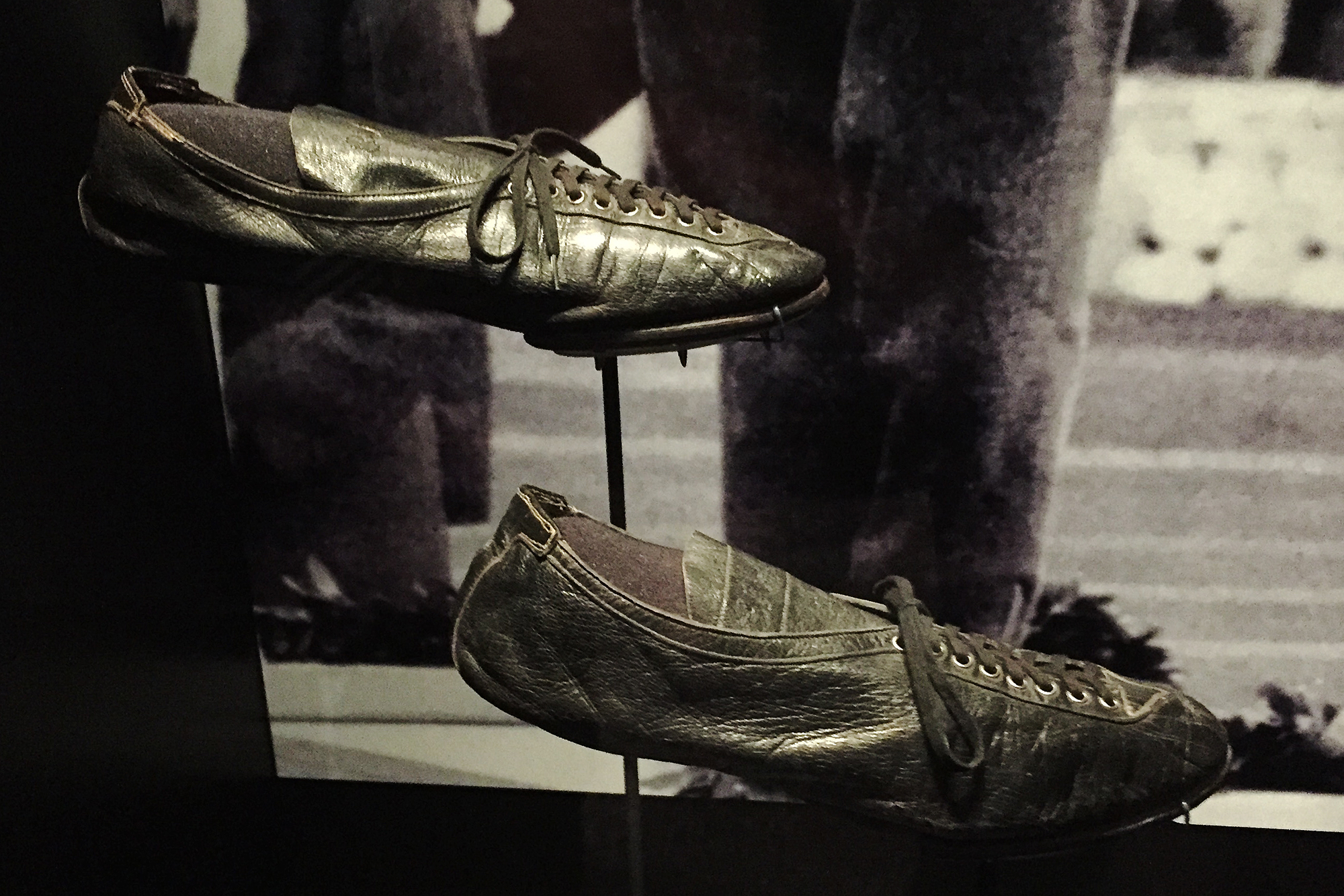 Cleats worn by Jesse Owens during the 1936 Olympics in Germany that came from the Jock Michael Smith Collection.