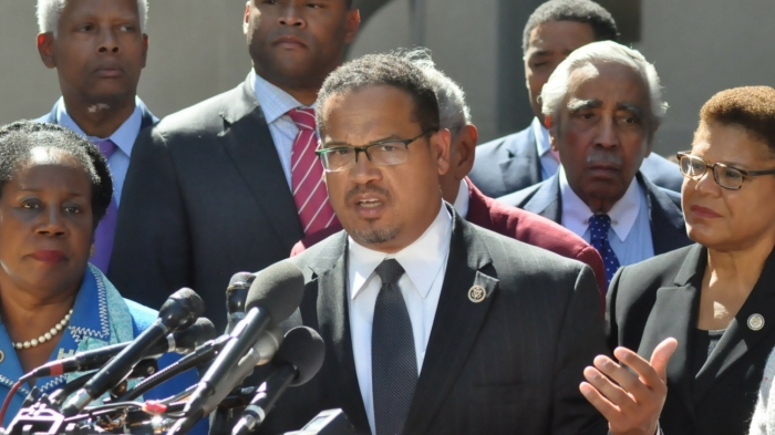Congressman Keith Ellison addressed the media on Sept. 22 with demands for the Department of Justice.