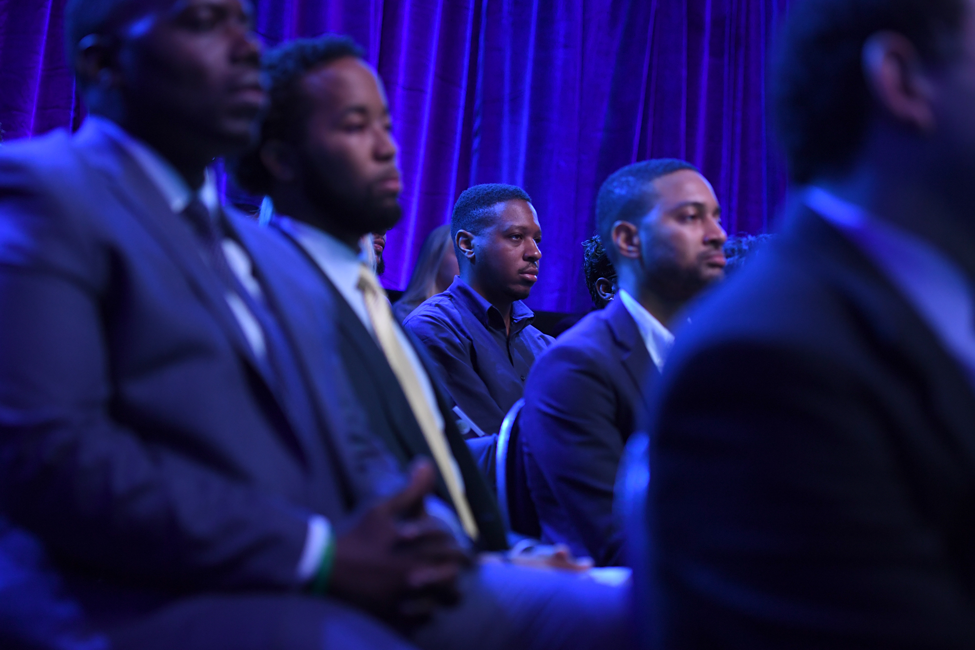 Audience members watch as ESPN's Stan Verrett and President Barack Obama talk during ESPNÕs The Undefeated: A Conversation with The President: Sports, Race and Achievement at the Alumni-Foundation Event Center on the campus of North Carolina A&T on October 11, 2016 in Greensboro, N.C.