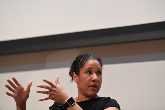 Kara Lawson speaks about her time coming up through the ranks of ESPN during Morgan State University and The Undefeated: Black Female Symposium at the Student Center on the campus of Morgan State University on October 18, 2016 in Baltimore, MD.