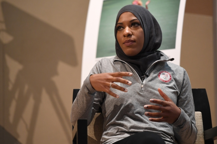 Ibtihaj Muhammad talks about her experience coming up through the fencing world during Morgan State University and The Undefeated: Black Female Symposium at the Student Center on the campus of Morgan State University on October 18, 2016 in Baltimore, MD.