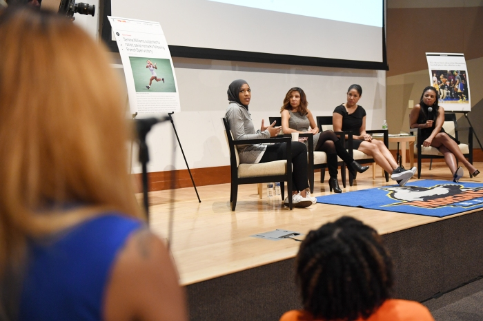 Greensboro, North Carolina - October 18, 2016: A student at Morgan State asks a question to the panel during Morgan State University and The Undefeated: Black Female Symposium at the Student Center on the campus of Morgan State University on October 18, 2016 in Baltimore, MD. (Brent Lewis/The Undefeated)