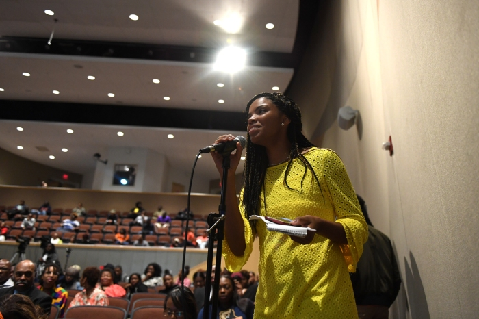 Greensboro, North Carolina - October 18, 2016: Katia Jordan, student at Morgan State, asks about how to change the perception African-American female athletes during Morgan State University and The Undefeated: Black Female Symposium at the Student Center on the campus of Morgan State University on October 18, 2016 in Baltimore, MD. (Brent Lewis/The Undefeated)
