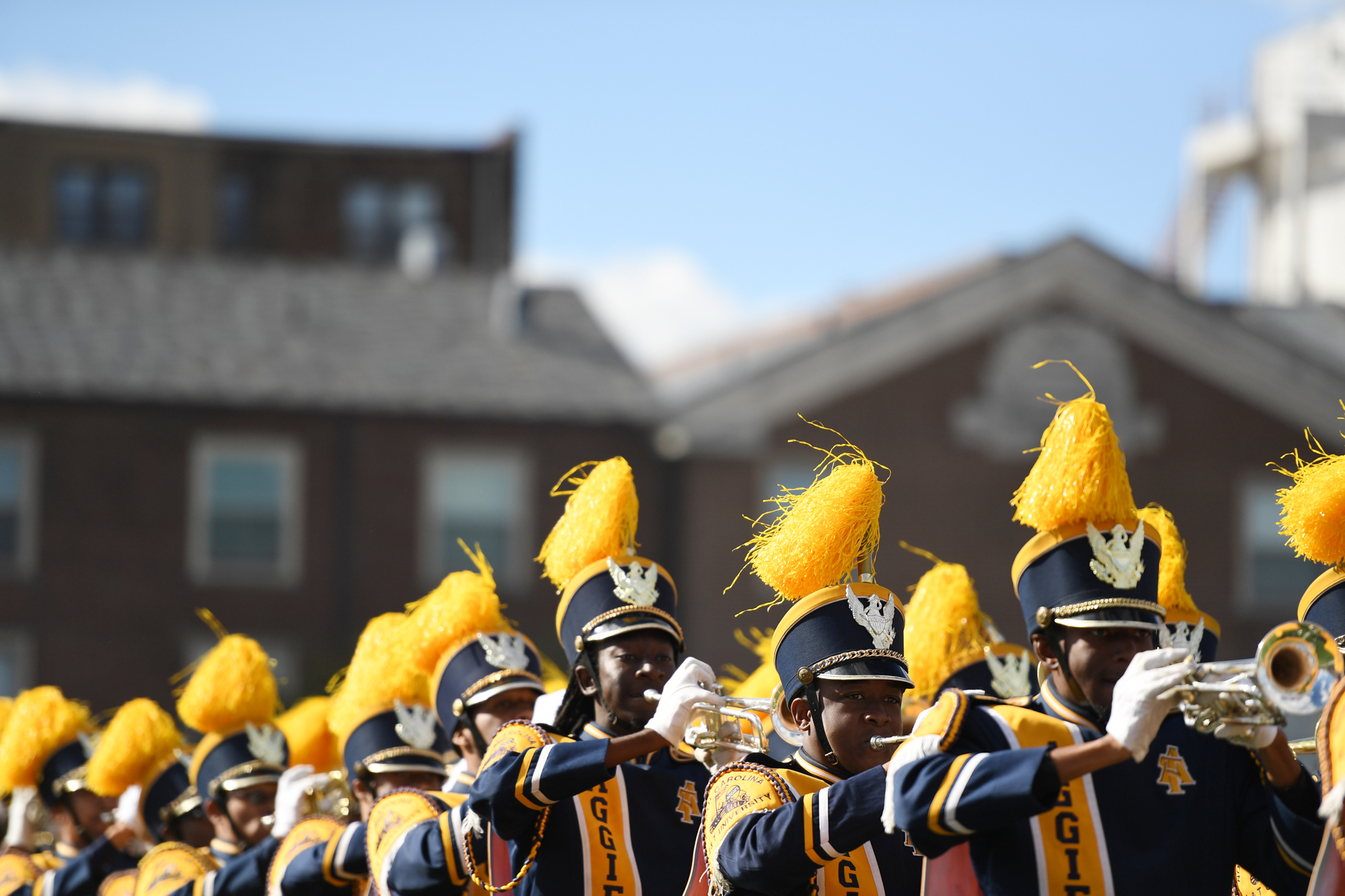 Members of the North Carolina A&T Aggies band perform during halftime of the Howard Homecoming game between Howard and North Carolina A&T on October 22, 2016 in Washington D.C. The Aggies defeated the Bison 34-7.