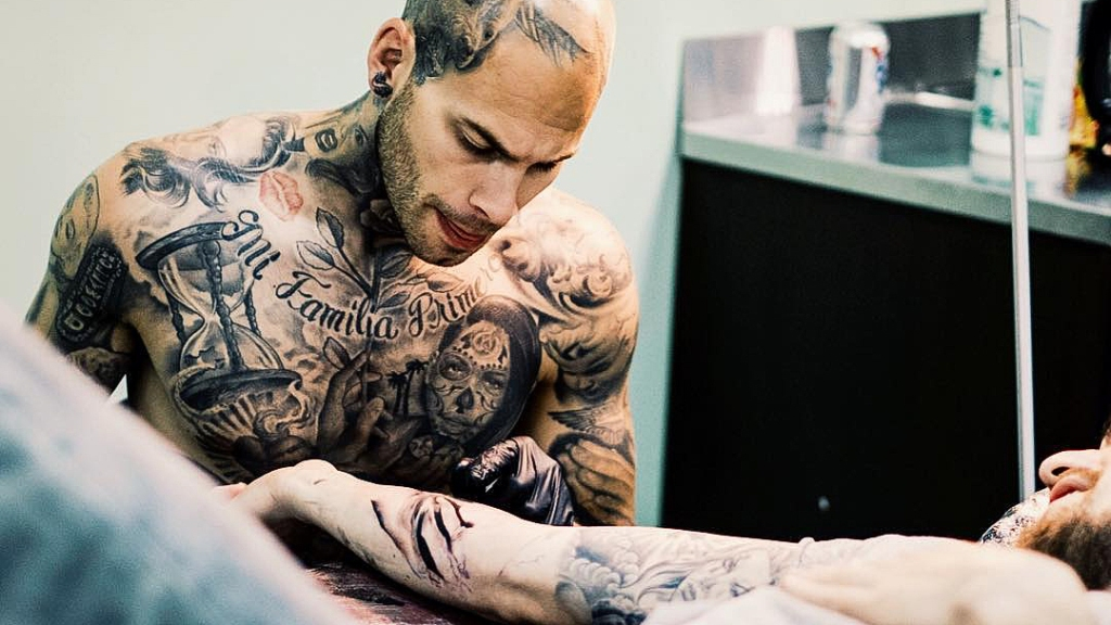 c51ce1db43b1 Tattoo artist Steve Wiebe is responsible for a lot of ink on the court