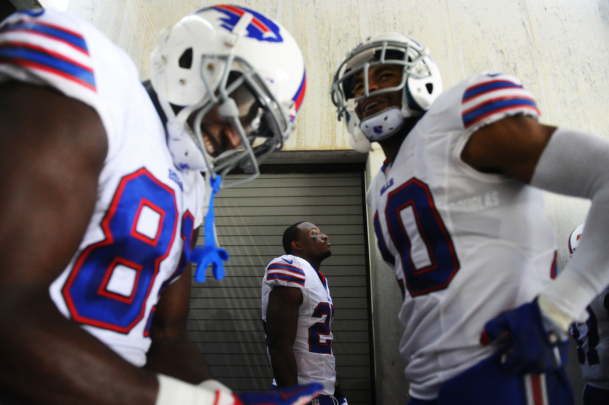 Buffalo Bills running back LeSean McCoy (center) stands in the visitors tunnel before the game against the Philadelphia Eagles at Lincoln Financial Field.