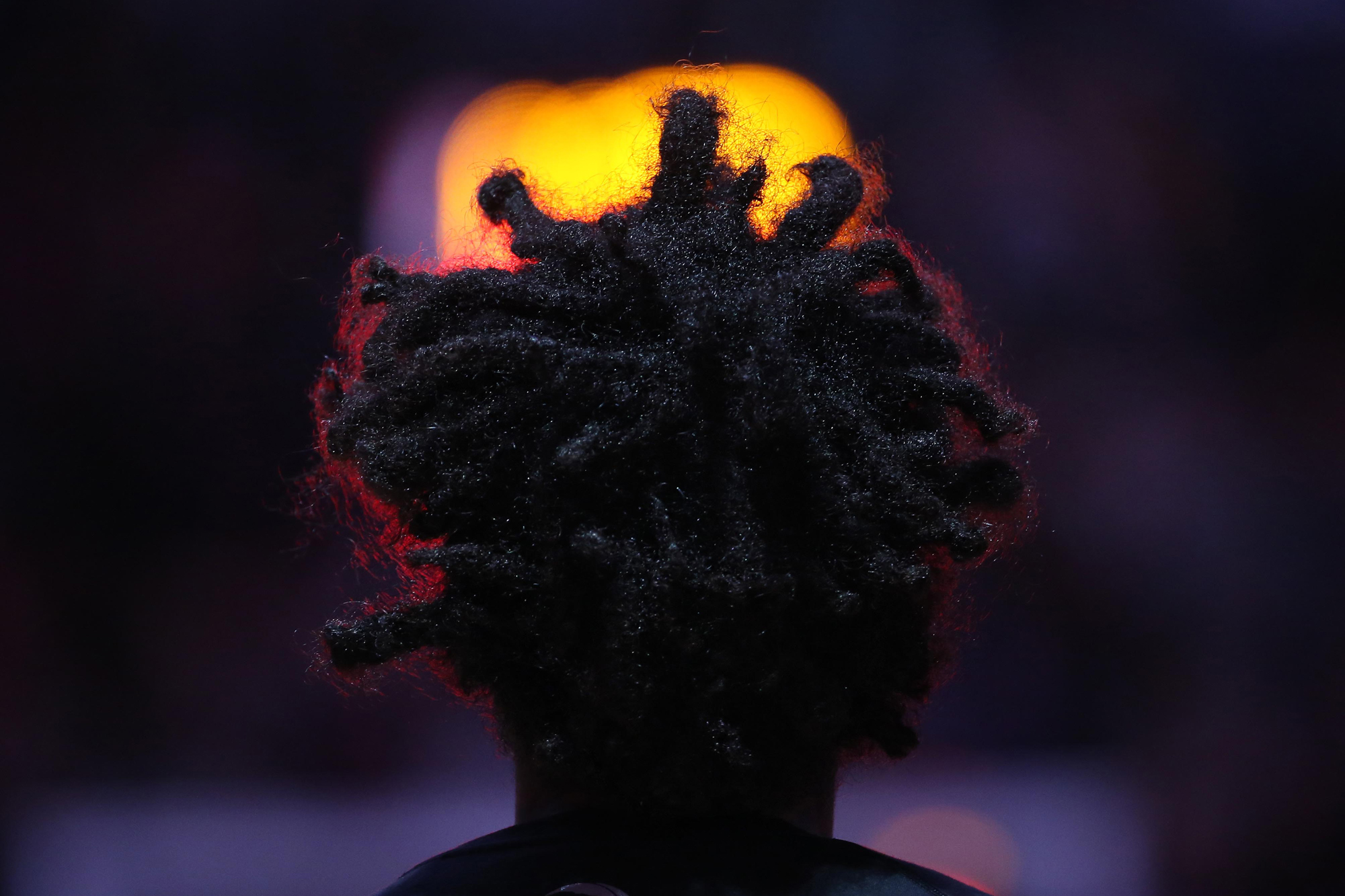 Toronto Raptors guard Lucas Nogueira (92) stands for the playing of the anthems before the start of their game against the Atlanta Hawks at Air Canada Centre.