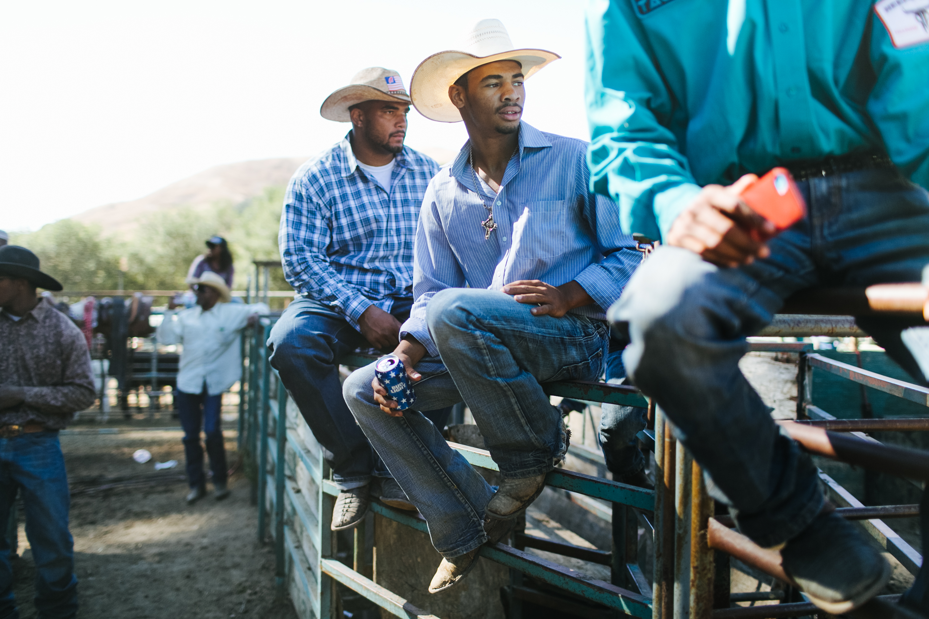 C J Demery 20 Looks On As The Tie Down Roping Event Takes Place At The Bill Pickett Rodeo
