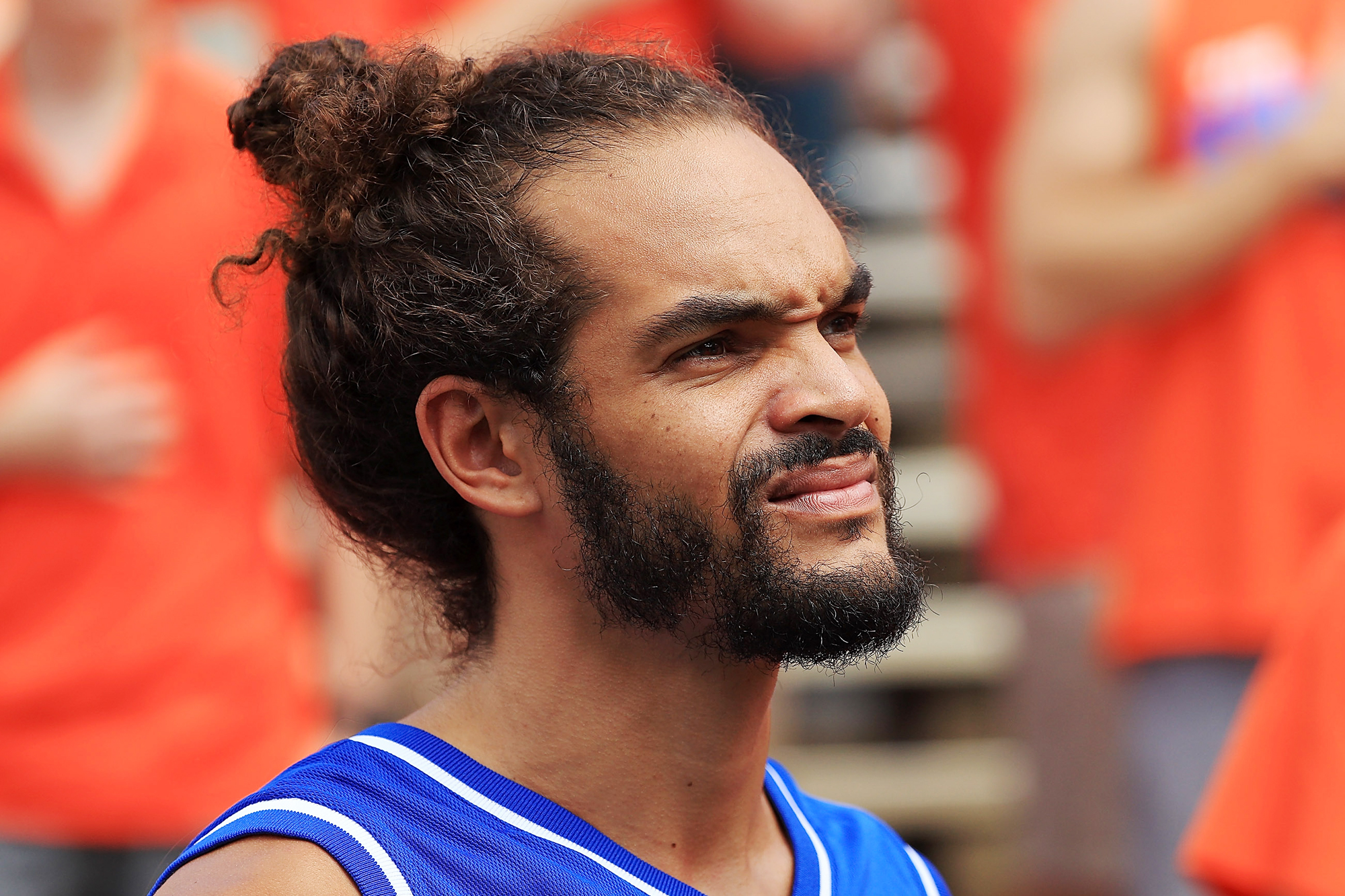 NBA player Joakim Noah looks on during a game between the Florida Gators and the Kentucky Wildcats at Ben Hill Griffin Stadium on September 10, 2016 in Gainesville, Florida.