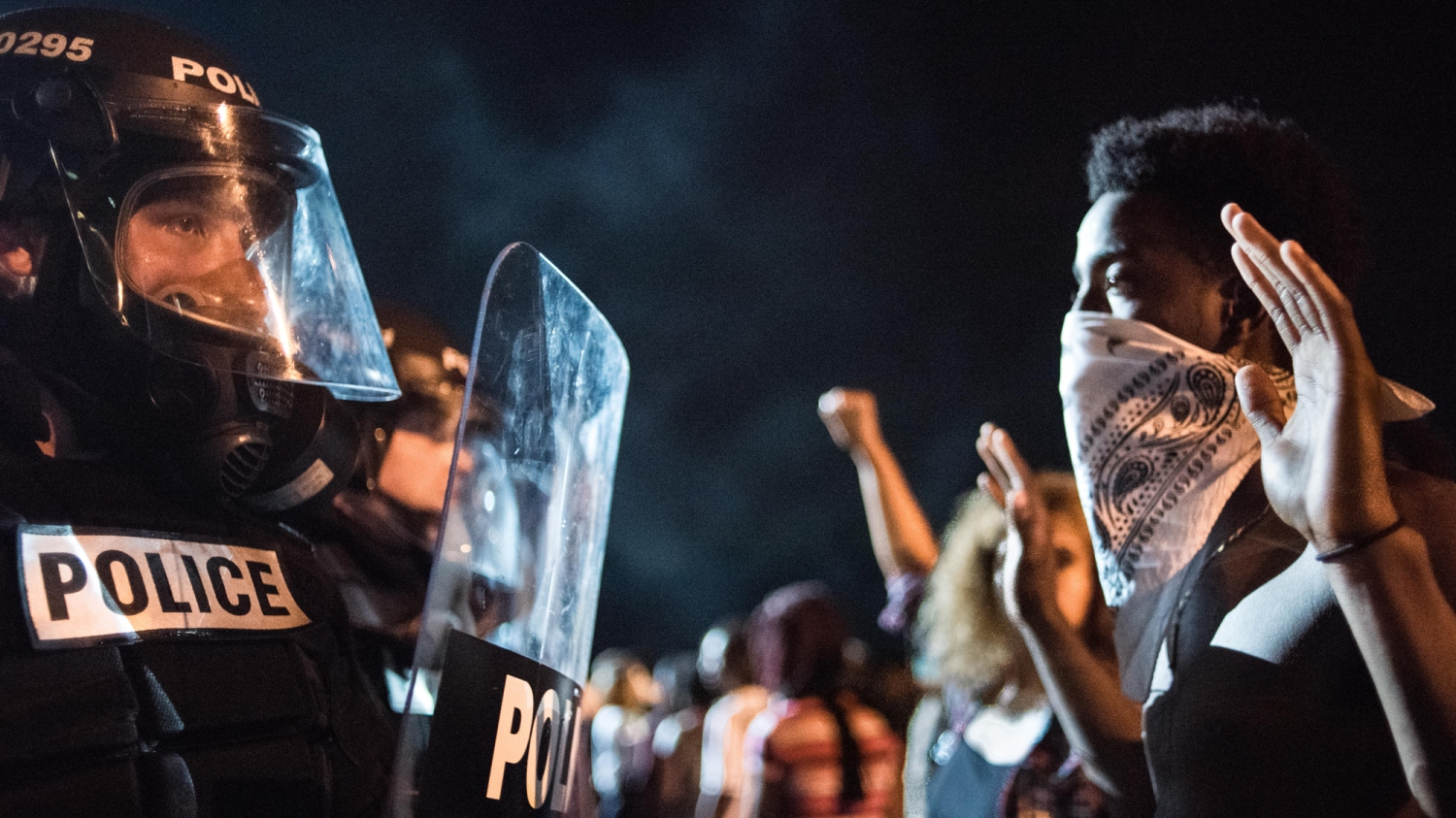 c72da105eff Police officers face off with protestors on the I-85 (Interstate 85) during  protests following the death of a man shot by a police officer on September  21, ...