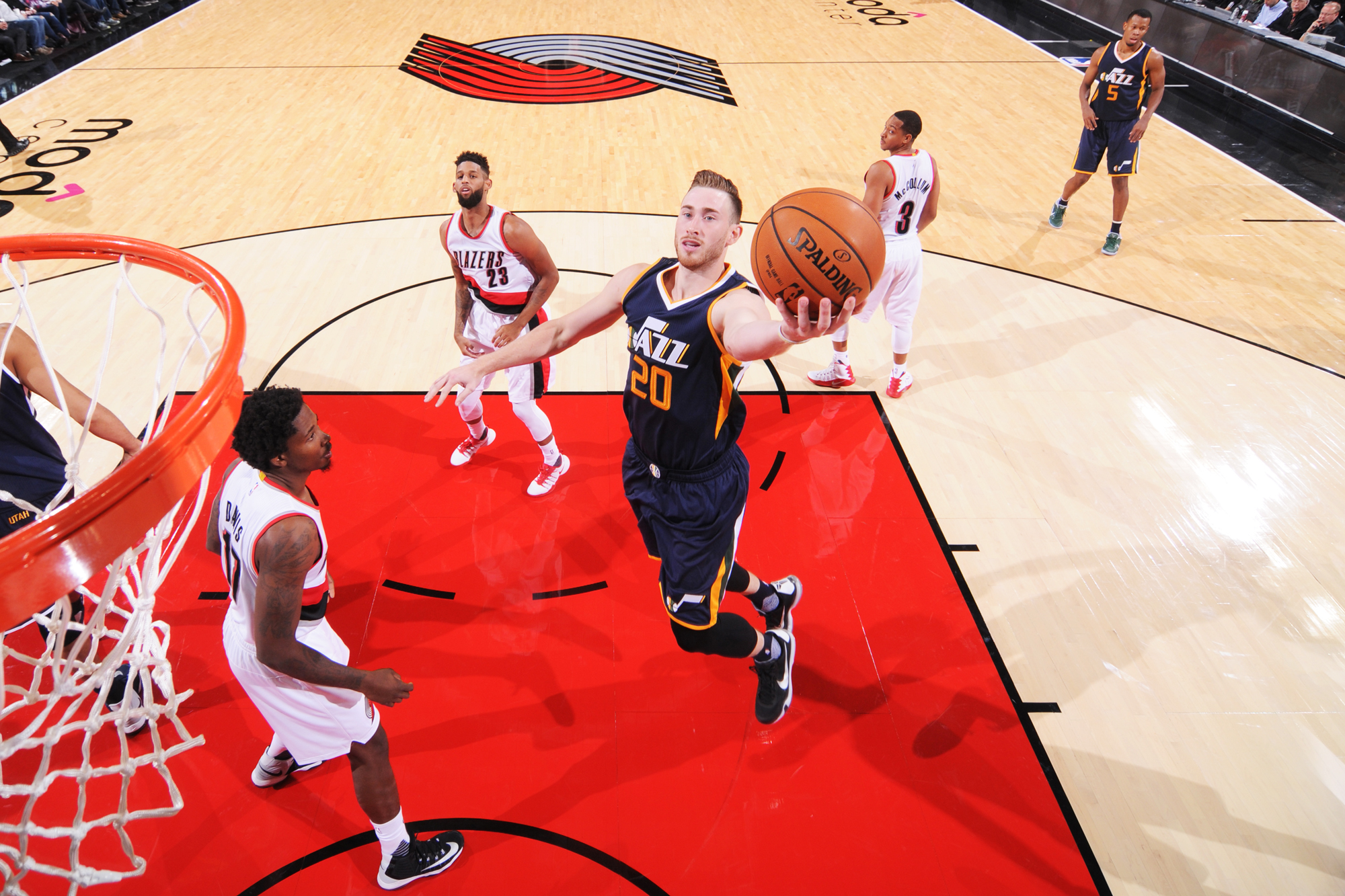 Gordon Hayward #20 of the Utah Jazz shoots the ball against the Portland Trail Blazers during a preseason game on October 3, 2016 at the Moda Center in Portland, Oregon.