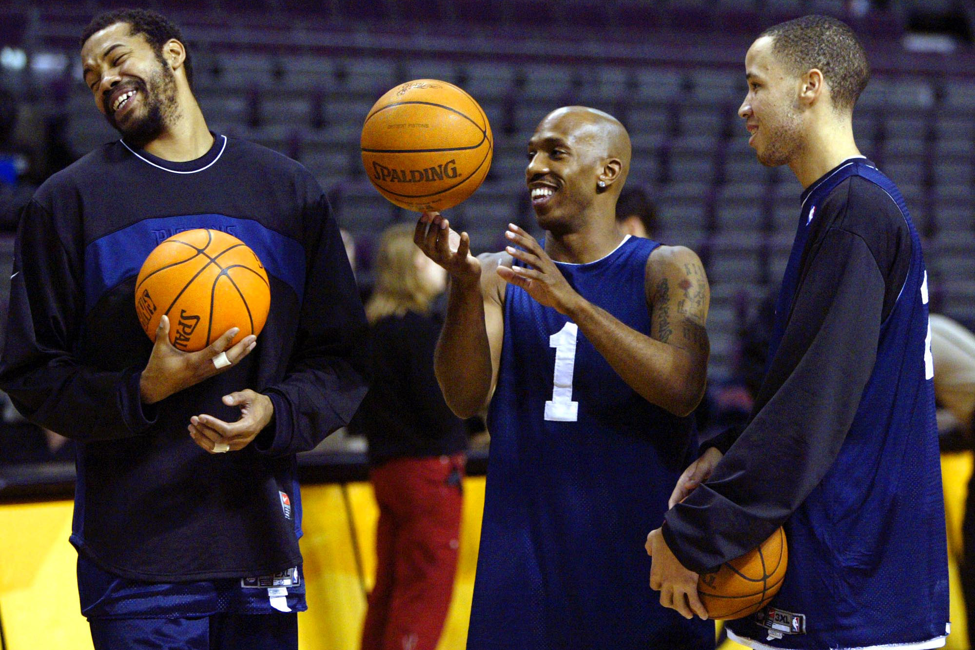 Detroit Pistons Rasheed Wallace, left, Chauncey Billups (1) and Tayshaun Prince, right, enjoy a laugh at practice at the Palace in Auburn Hills, Mich. Friday, June 11, 2004.