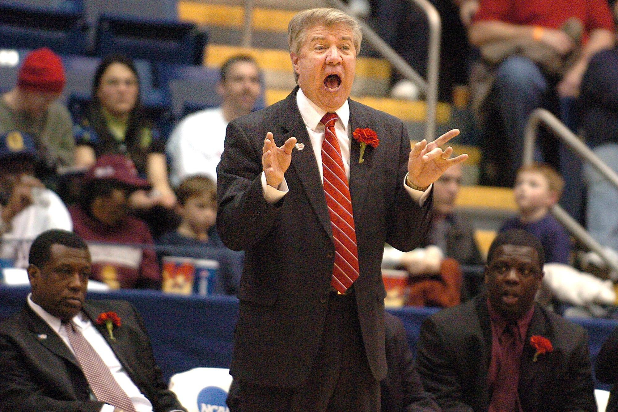 Virginia Union head coach Dave Robbins gestures to his players during the second half of the NCAA Division II Finals basketball game against Winona State in Springfield, Mass., Saturday, March 25, 2006. Winona won 66-56.