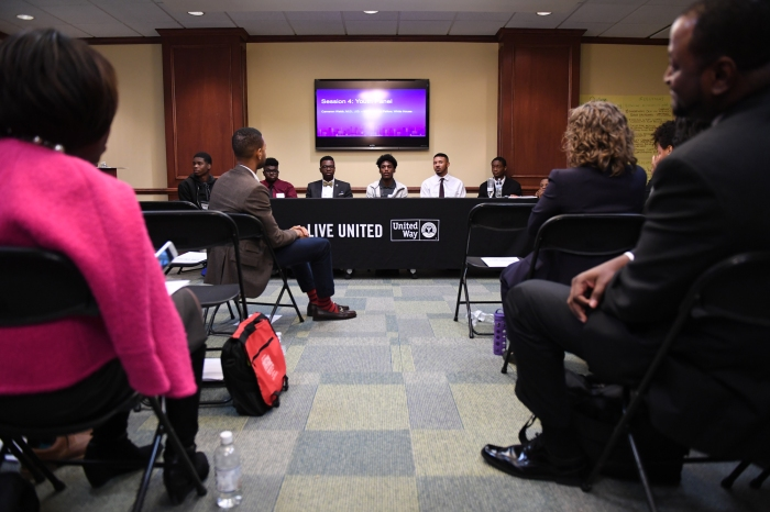 The group of seven students that lead the final panel of the day which they spoke about their experiences during the Summit for My Brother's Keeper at the United Way of Greater Greensboro on October 10, 2016 in Greensboro, North Carolina.