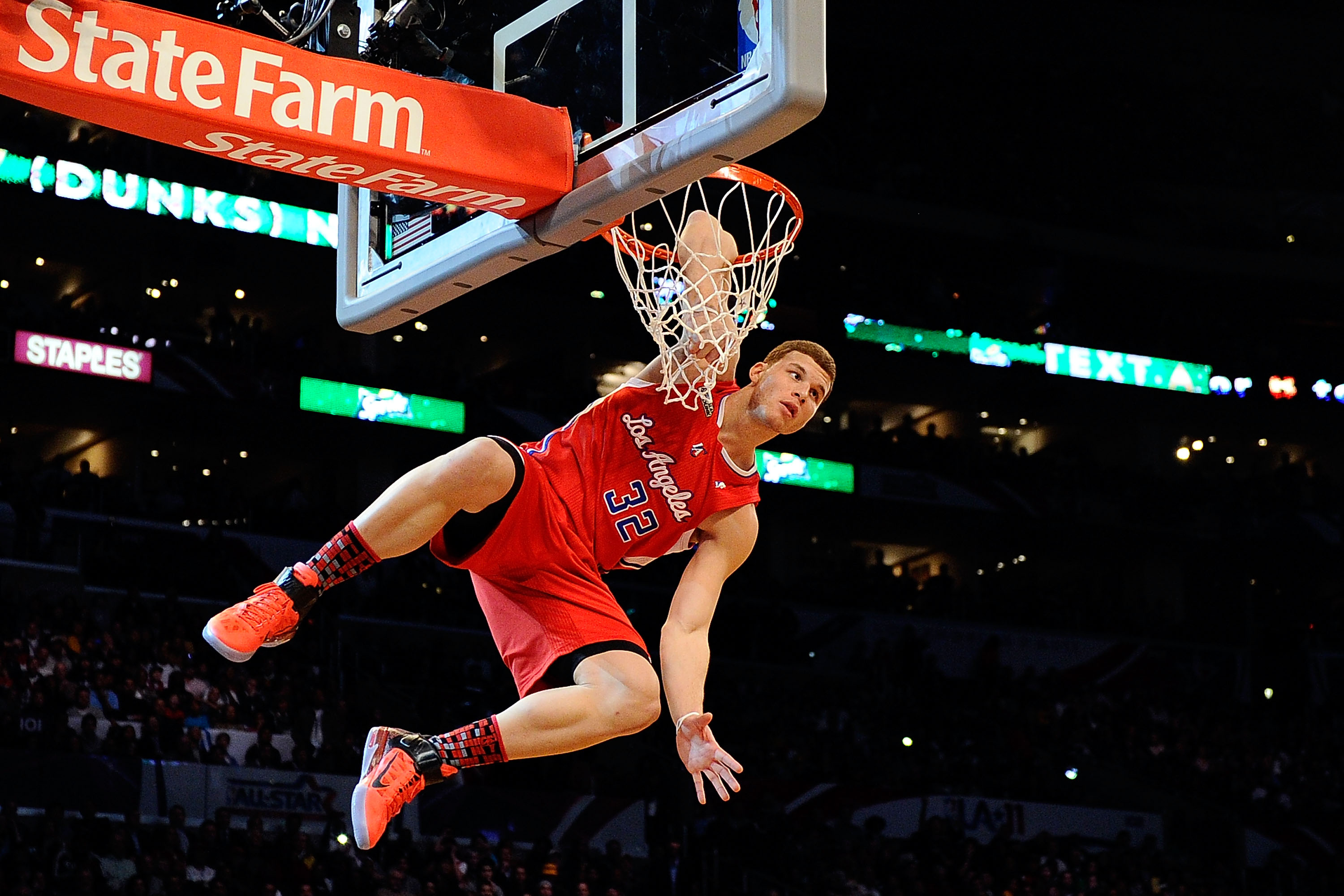 Blake Griffin #32 of the Los Angeles Clippers dunks the ball as his elbow hangs on the rim in the Sprite Slam Dunk Contest apart of NBA All-Star on February 19, 2011 in Los Angeles, California. Griffin is of Haitian descendent from this father's side.