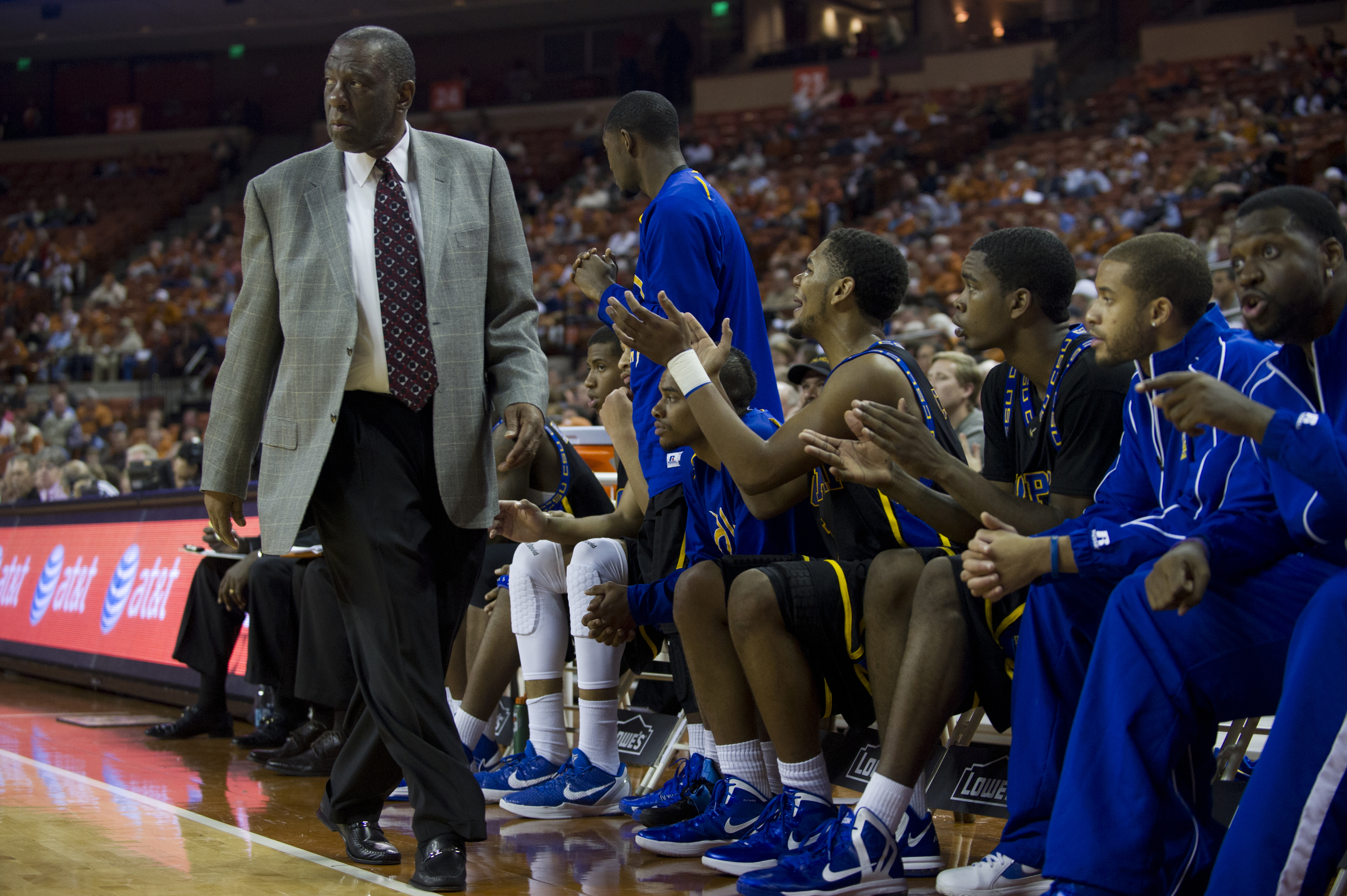 "Head coach Ron ""Fang"" Mitchell of the Coppin State University Eagles calls a play against the University of Texas Longhorns on November 12, 2012 at the Frank Erwin Center in Austin, Texas."
