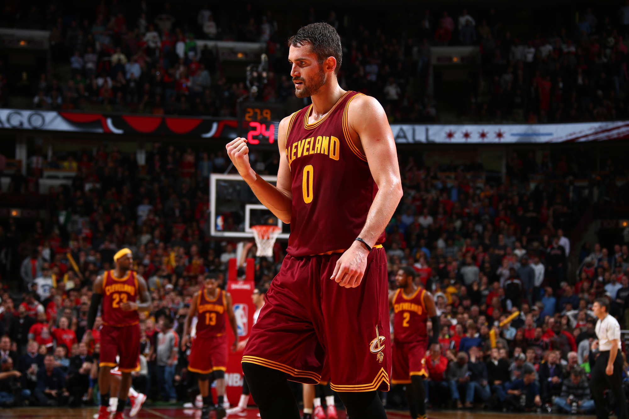 Kevin Love #0 of the Cleveland Cavaliers celebrates during a game against the Chicago Bulls at the United Center on October 31, 2014 in Chicago, Illinois.