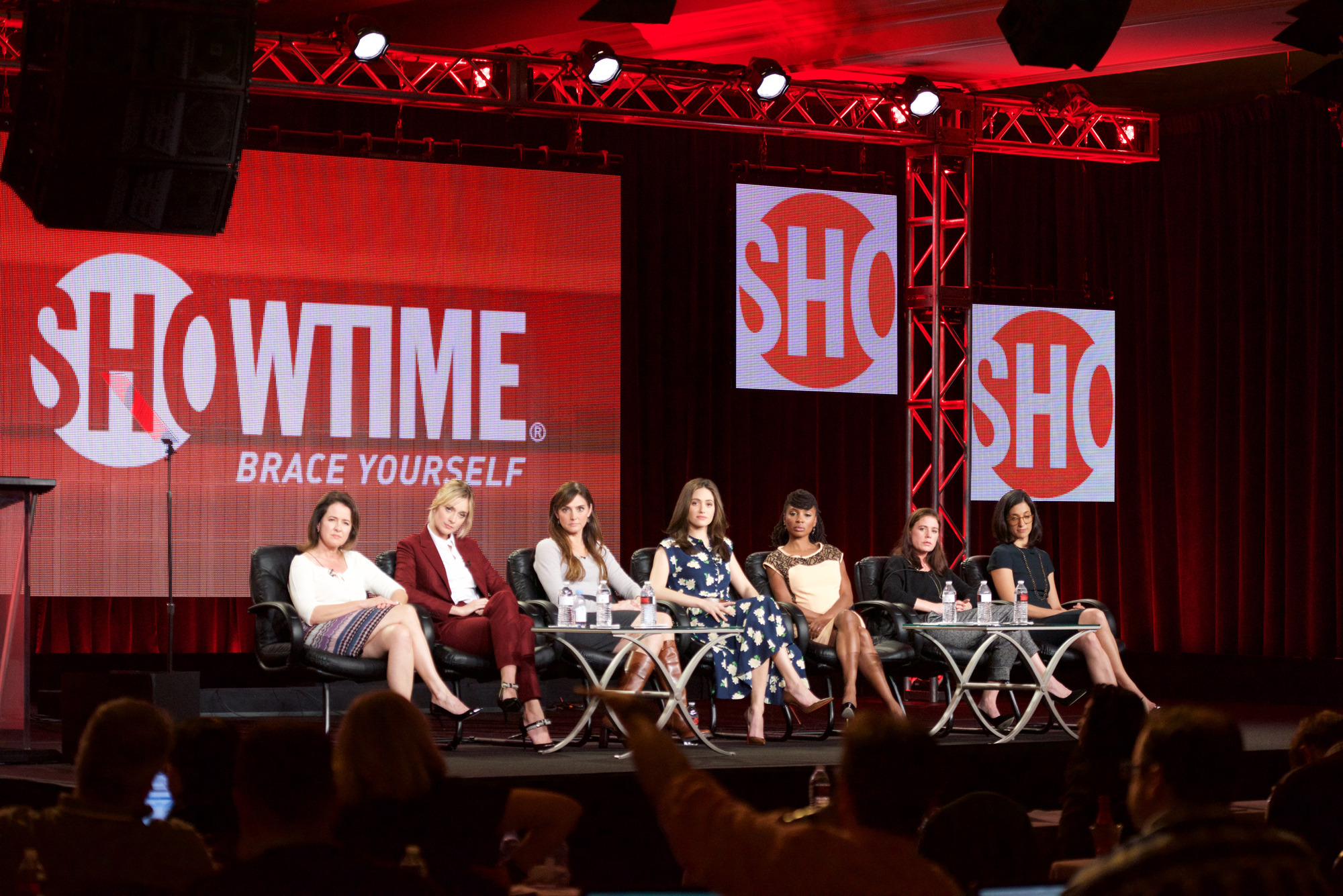 Screenwriter Michelle Ashford, Actress Caitlin FitzGerald, Executive Producer Nancy M. Pimental, Actress Emmy Rossum, Actress Shanola Hampton, Actress Maura Tierney, and Creator & Executive Producer Sarah Treem speak onstage during the 'Sexuality And Television: A Female Perspective' panel as part of the CBS/Showtime 2015 Winter Television Critics Association press tour at The Langham Huntington Hotel and Spa on January 12, 2015 in Pasadena, California.