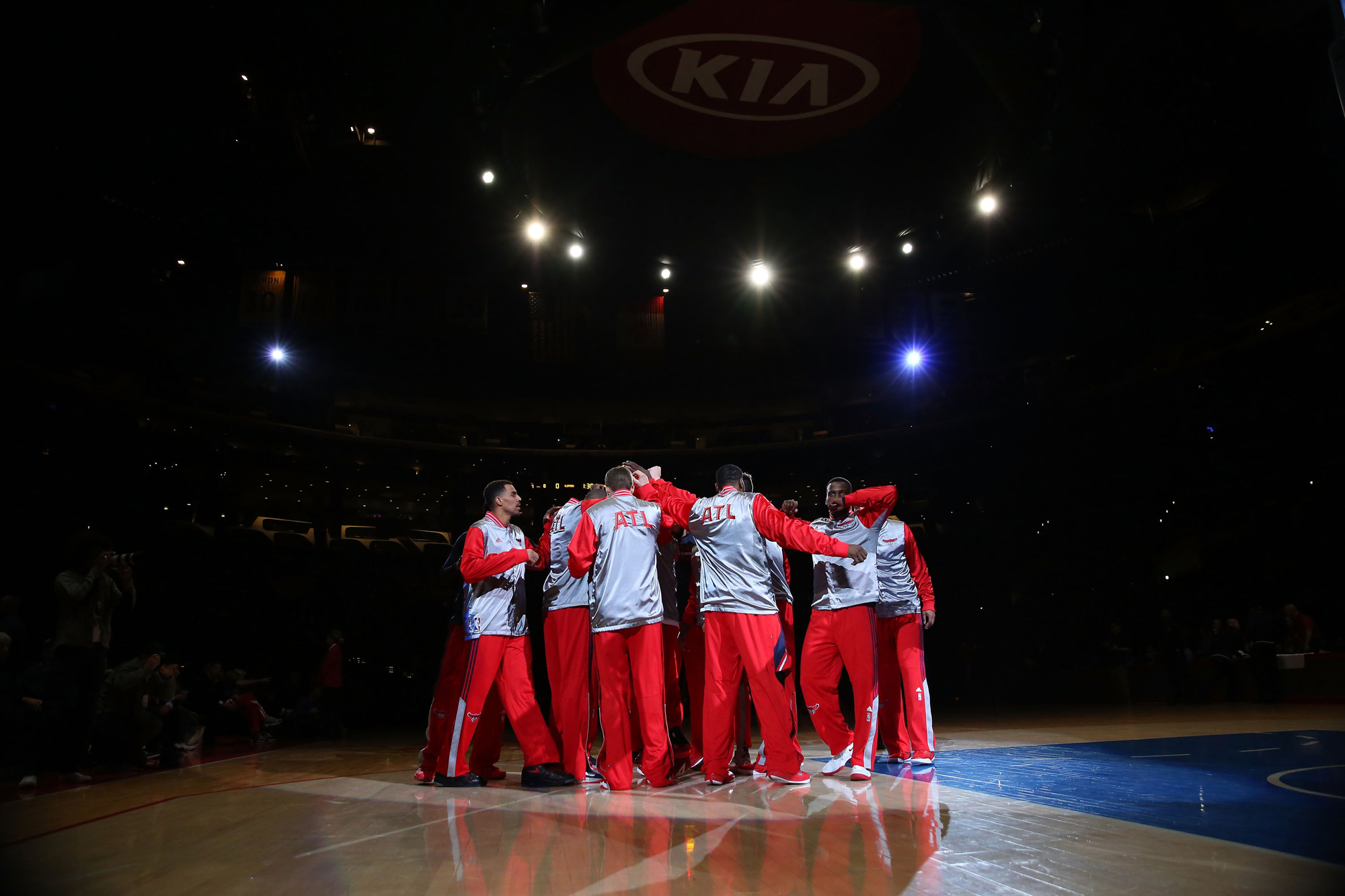 The Atlanta Hawks huddle together on the court prior to their NBA game against the Los Angeles Clippers at Staples Center on January 5, 2015 in Los Angeles, California.