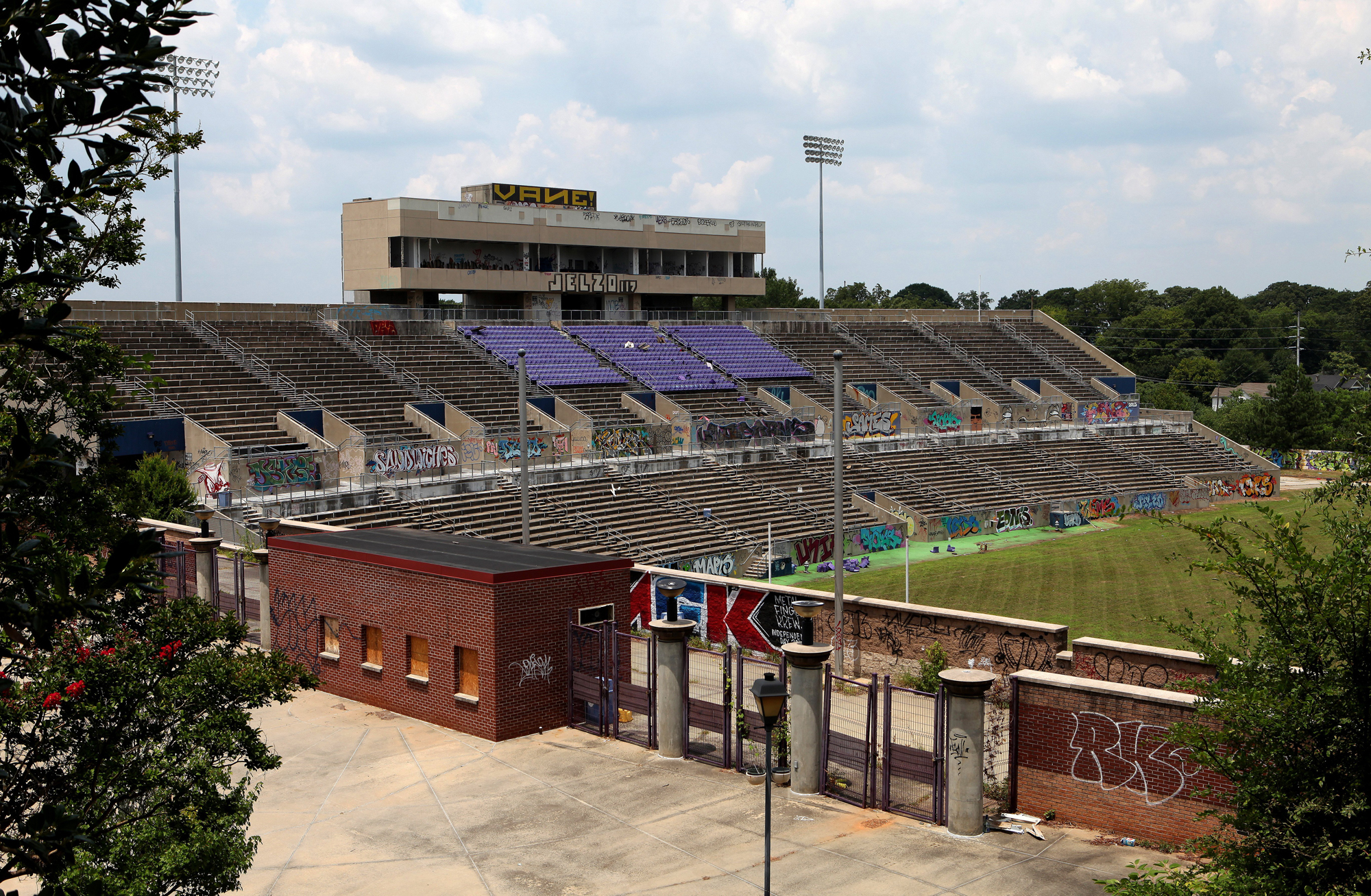 The old Alonzo Herndon Stadium at Morris Brown College on July 18, 2015 in Atlanta, Georgia.