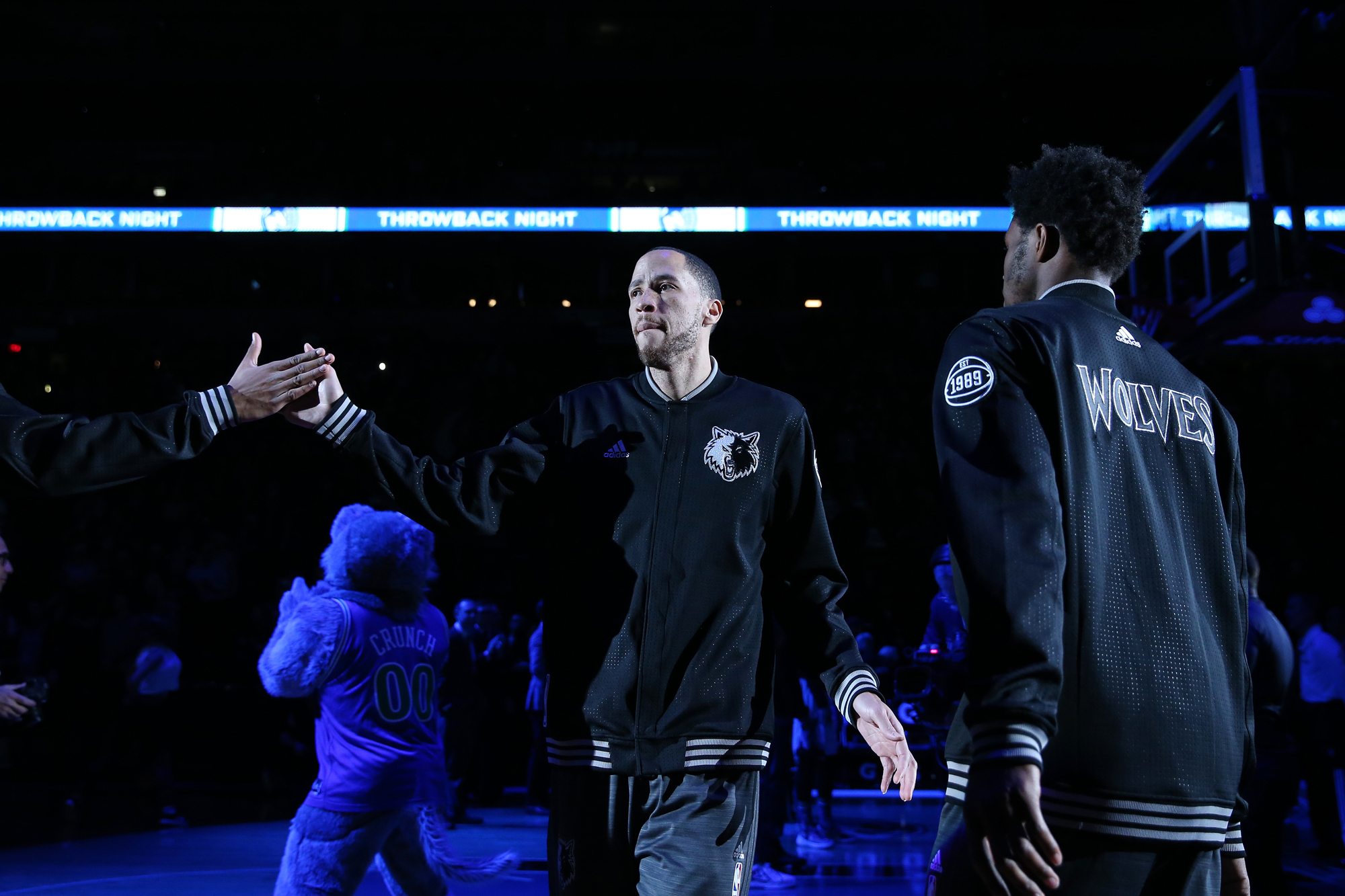 Tayshaun Prince #12 of the Minnesota Timberwolves gets introduced before the game against the Oklahoma City Thunder on January 12, 2016 at Target Center in Minneapolis, Minnesota.