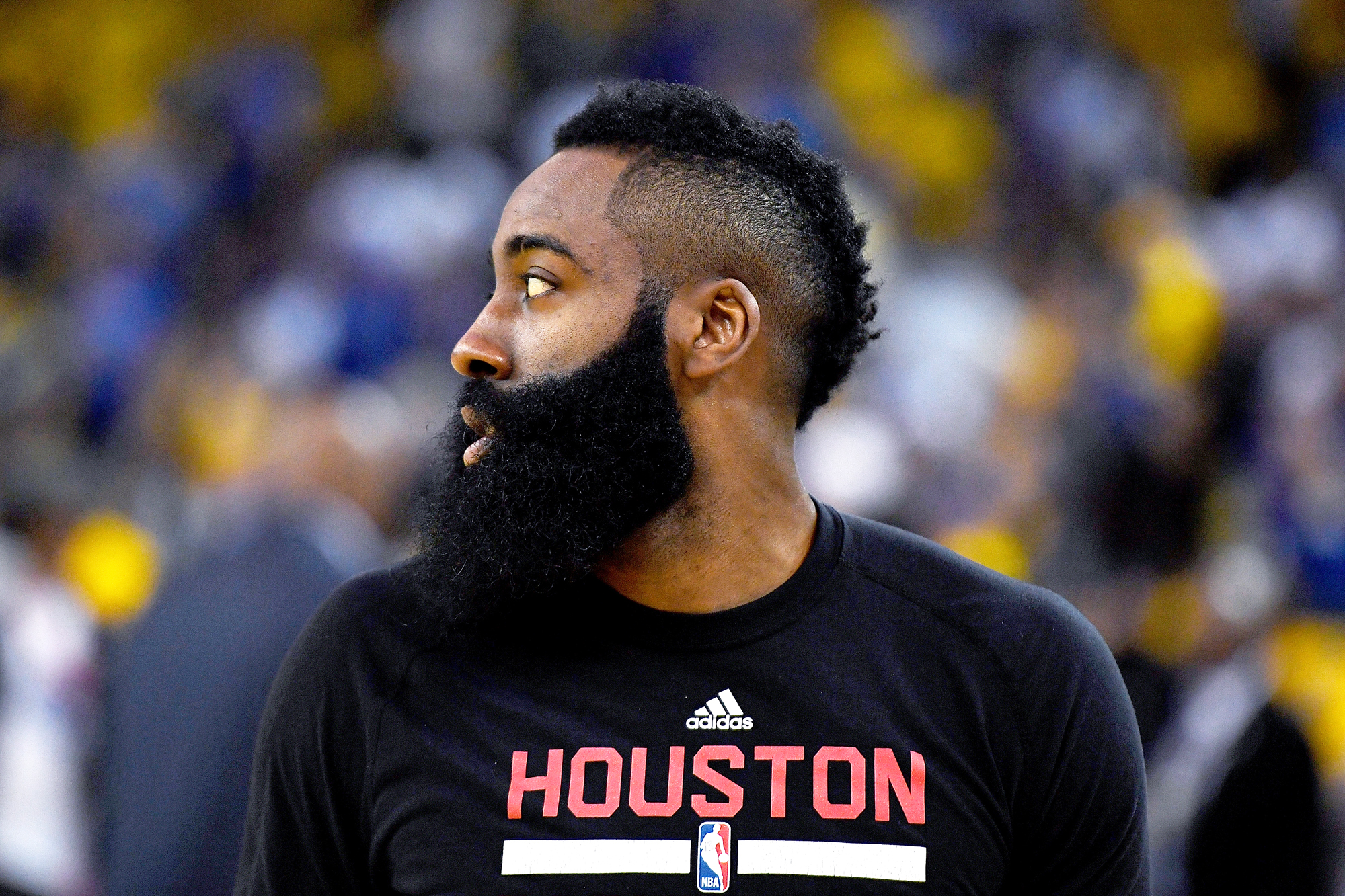 James Harden #13 of the Houston Rockets warms up prior to playing the Golden State Warriors in Game One of the Western Conference Quarterfinals during the 2016 NBA Playoffs at ORACLE Arena on April 16, 2016 in Oakland, California.