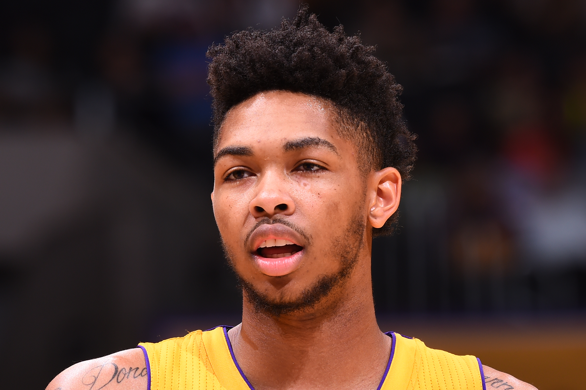 Brandon Ingram #14 of the Los Angeles Lakers is seen against the Denver Nuggets during a preseason game on October 7, 2016 at STAPLES Center in Los Angeles, California.