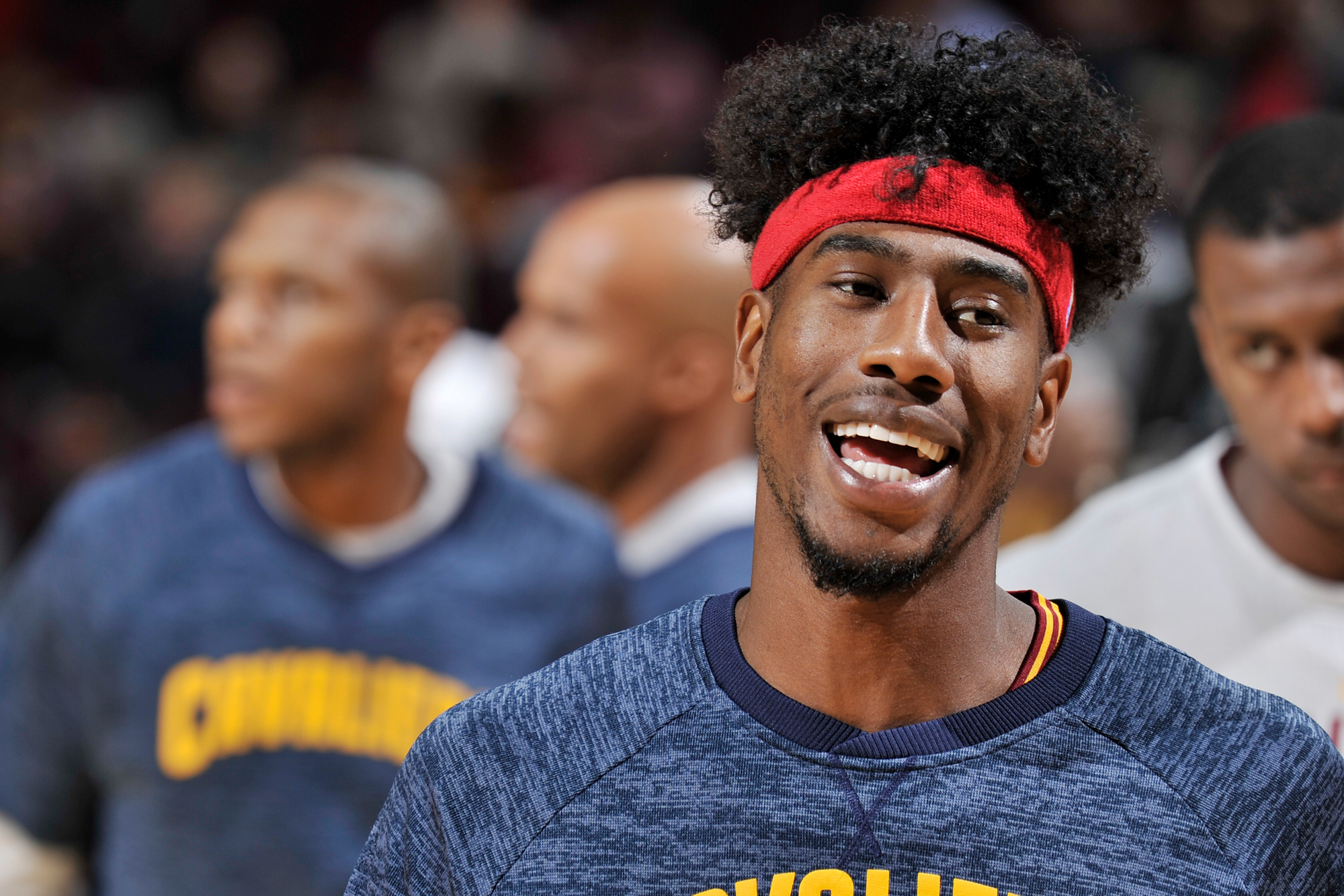 Iman Shumpert #4 of the Cleveland Cavaliers warms up before a preseason game against the Toronto Raptors on October 13, 2016 at Quicken Loans Arena in Cleveland, Ohio.