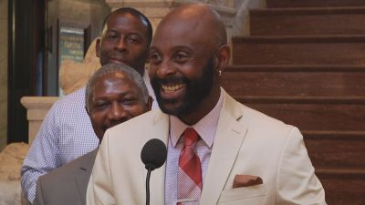 "Jerry Rice at ""Jerry Rice Day"" ceremony"