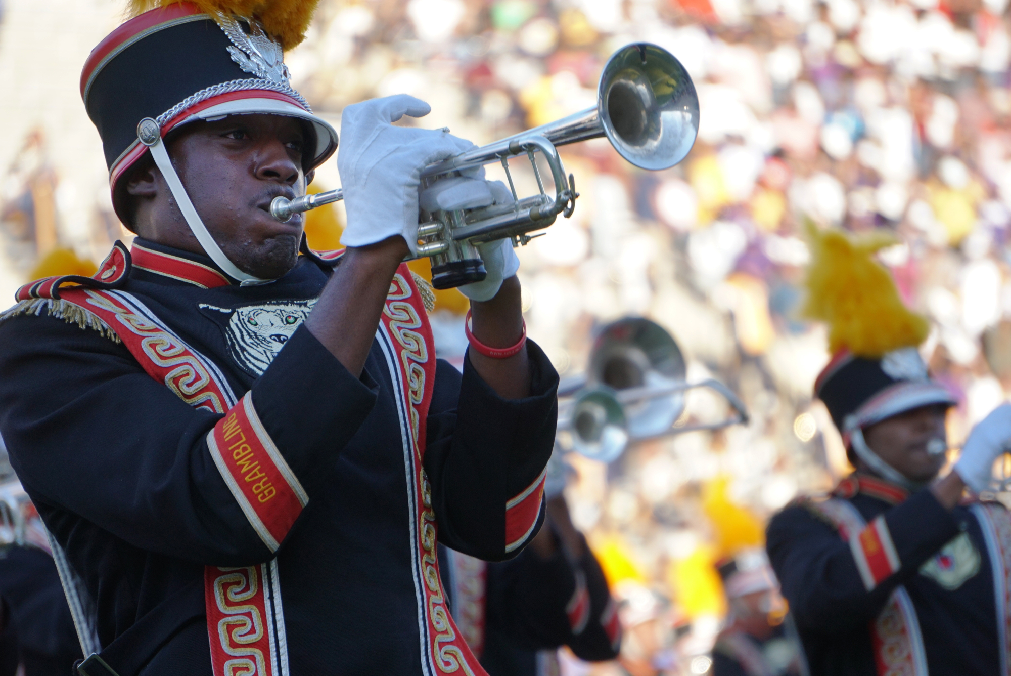 The Grambling State band perform during halftime of the Grambling State and Prairie A&M State Fair Classic at the Cotton Bowl.