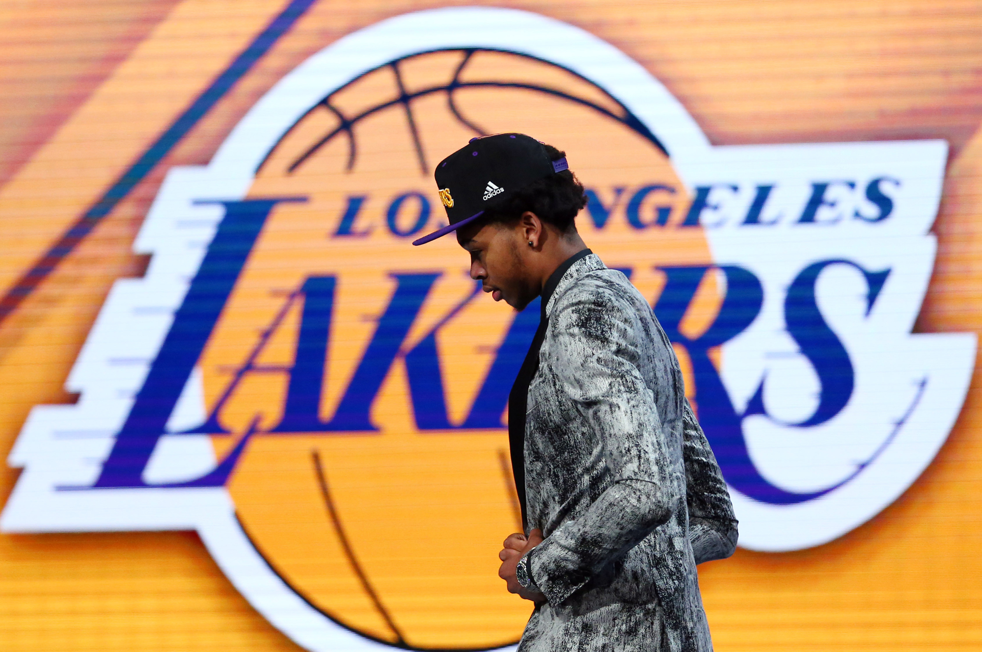 Brandon Ingram (Duke) walks off stage after being selected as the number two overall pick to the Los Angeles Lakers in the first round of the 2016 NBA Draft at Barclays Center.