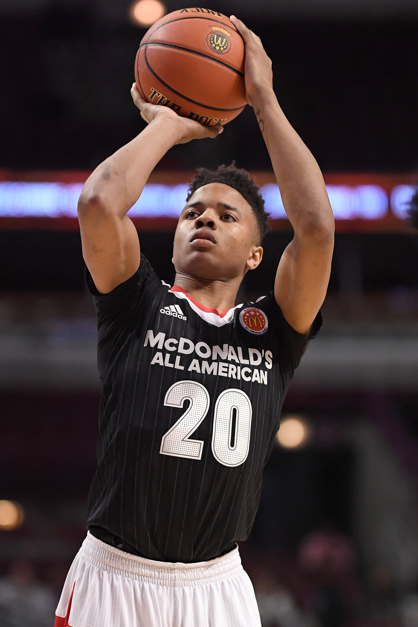 30 March 2016: McDonald's All American Boys East Team guard Markelle Fultz (20) during the McDonald's All-American Boy's Basketball Game at the United Center in Chicago, IL.