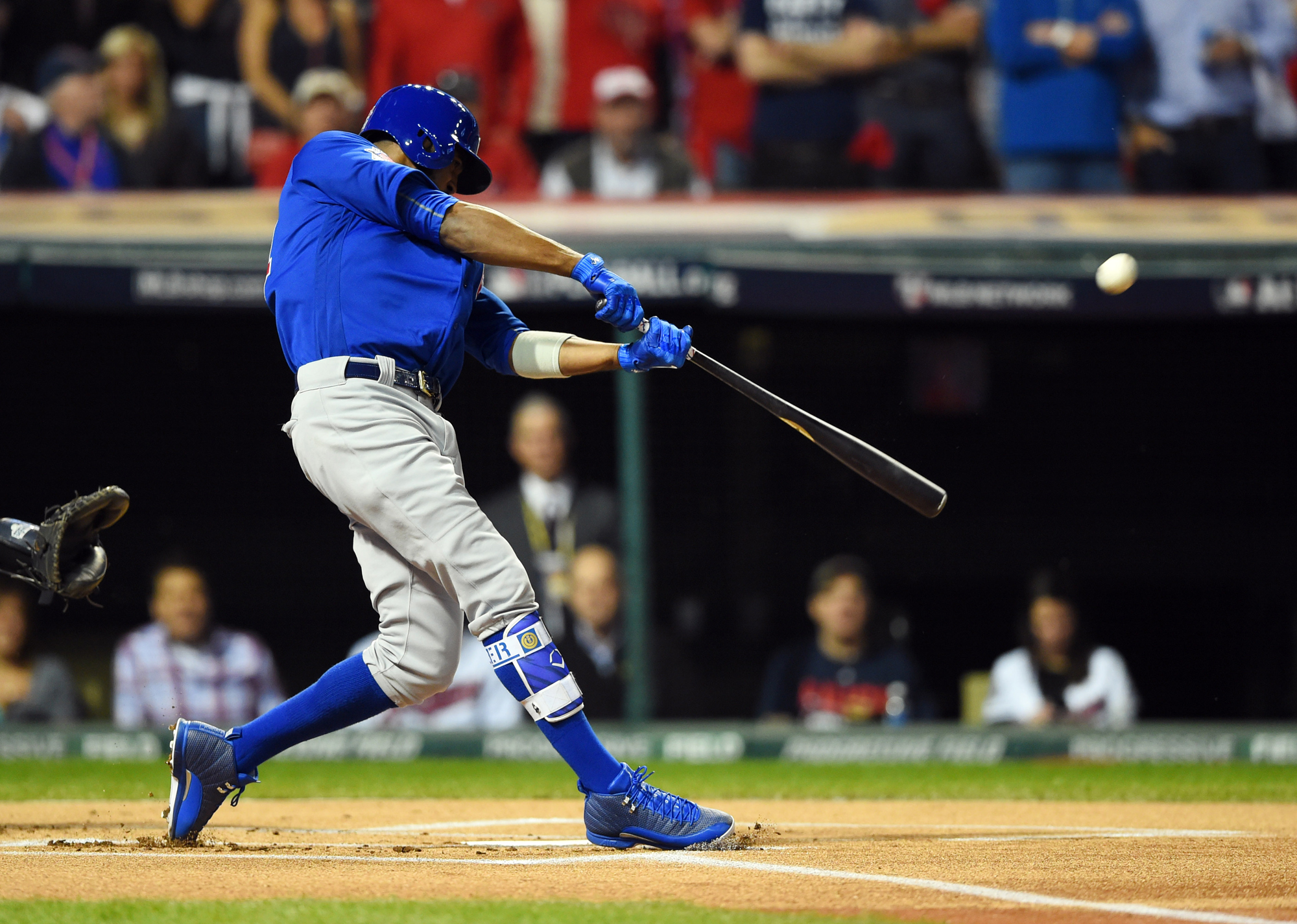 Chicago Cubs center fielder Dexter Fowler hits a solo home run against the Cleveland Indians in the first inning in game seven of the 2016 World Series at Progressive Field.