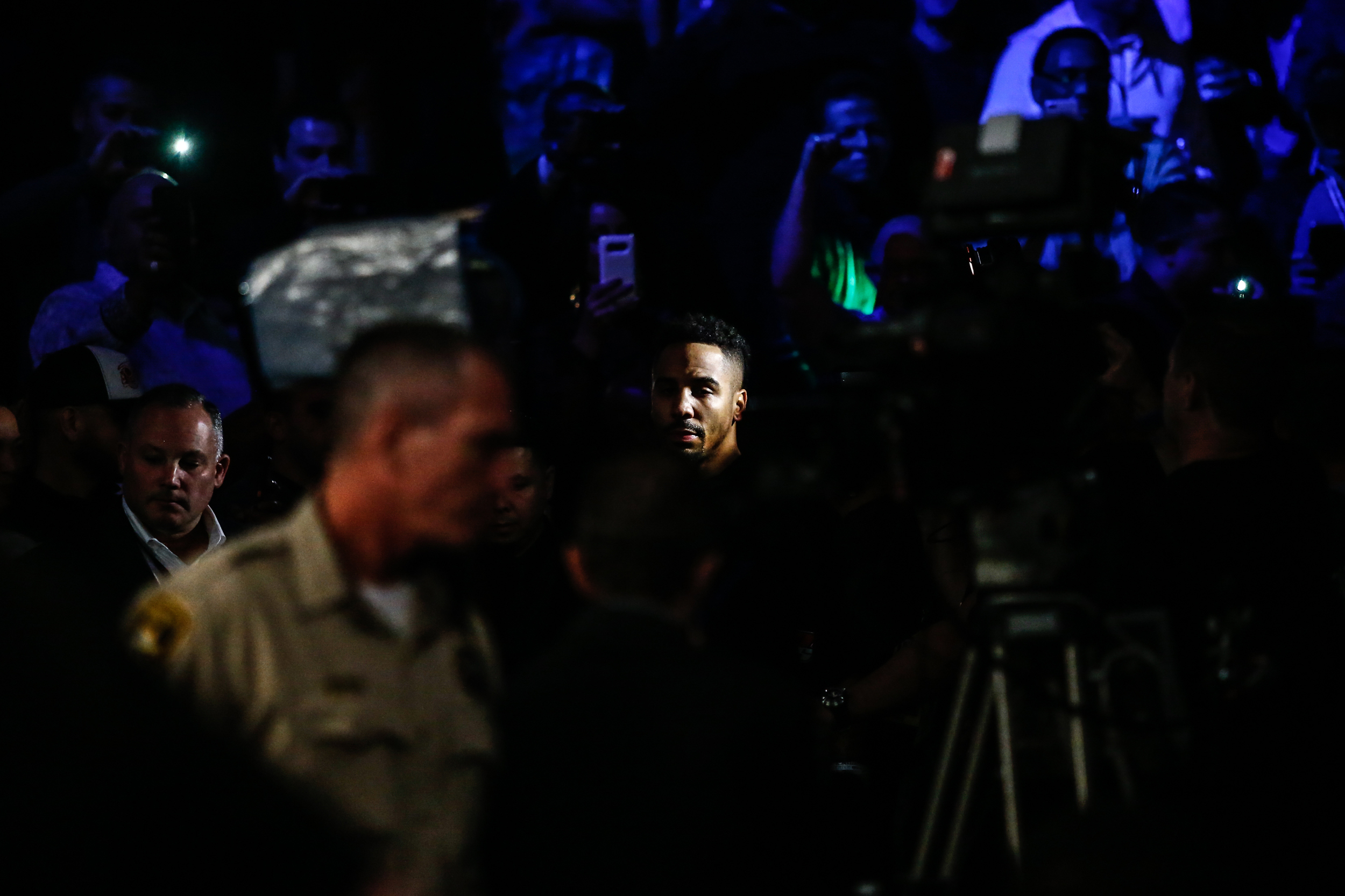 Light Heavyweight boxer Andre Ward walks to the ring as he gets ready to fight opponent Sergey Kovalev for the WBA/WBO/IBF world light heavyweight championship in a twelve-round bout on November 19th at the T-Mobile Arena in Las Vegas.