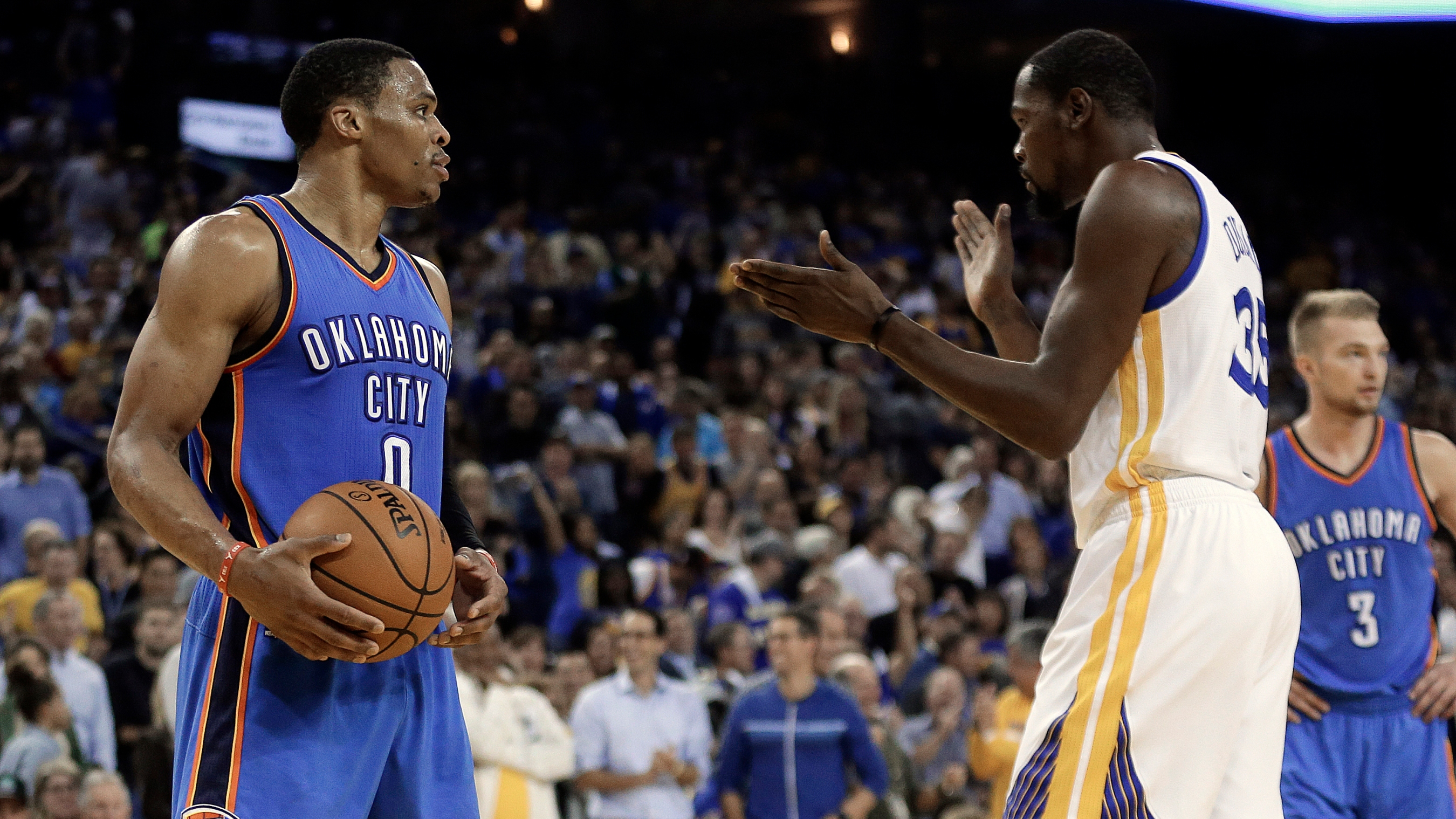 c438e291738 Kevin Durant and Russell Westbrook s reunion was as icy as expected