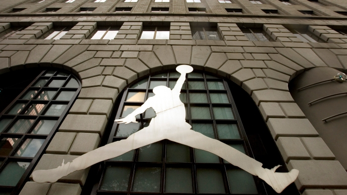 e1b3c302647885 The famous Nike Michael Jordan image graces the front of the Niketown store  in downtown Portland