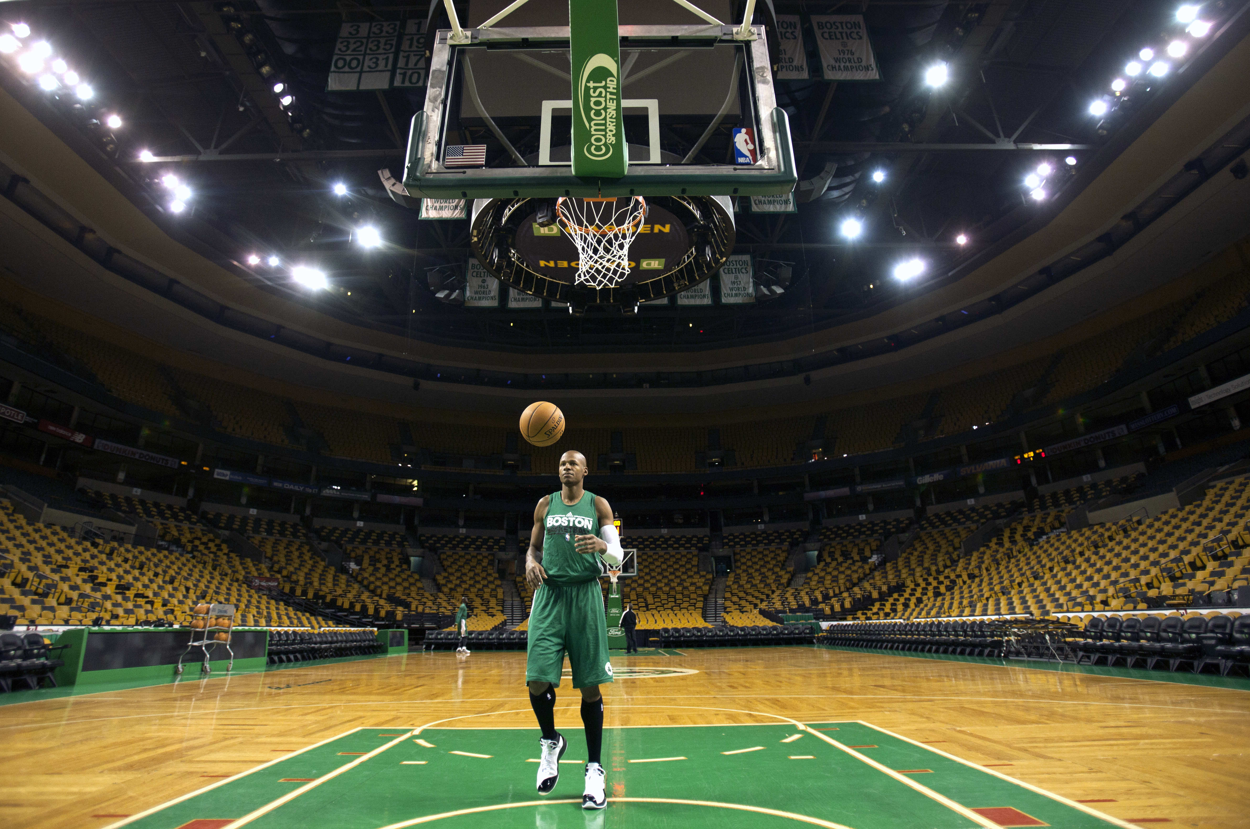 Boston Celtics' Ray Allen takes some shots before a media availability at TD Garden in Boston, Friday, Dec. 16, 2011.