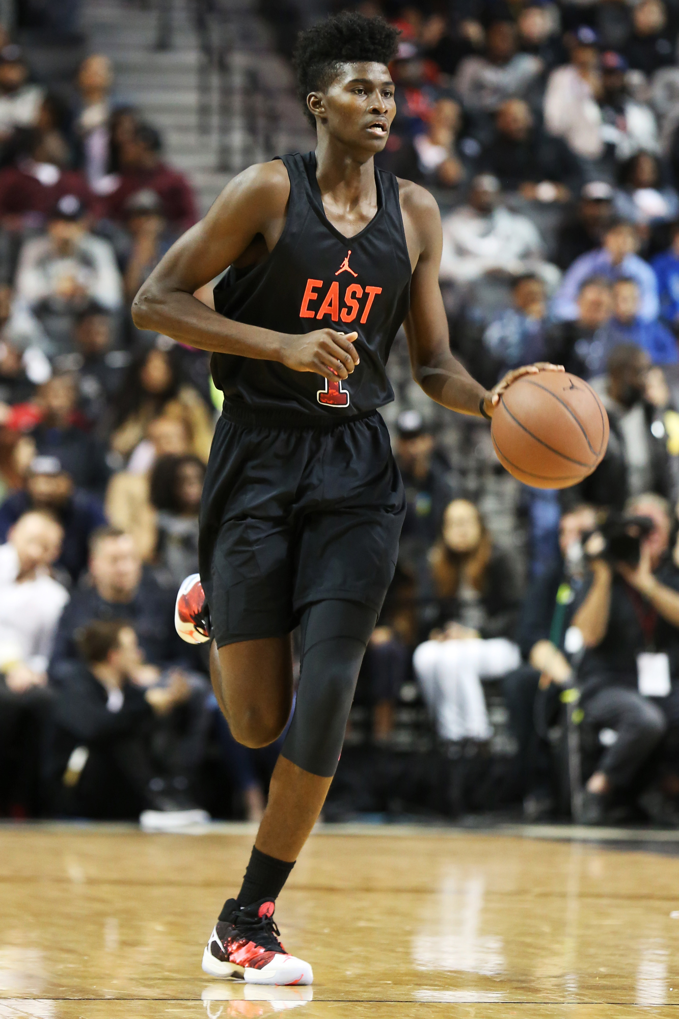 The East team's Jonathan Isaac #1 in action against the West team during a high school basketball game in the Jordan Brand Classic on Friday, April 15, 2016 in Brooklyn, NY.