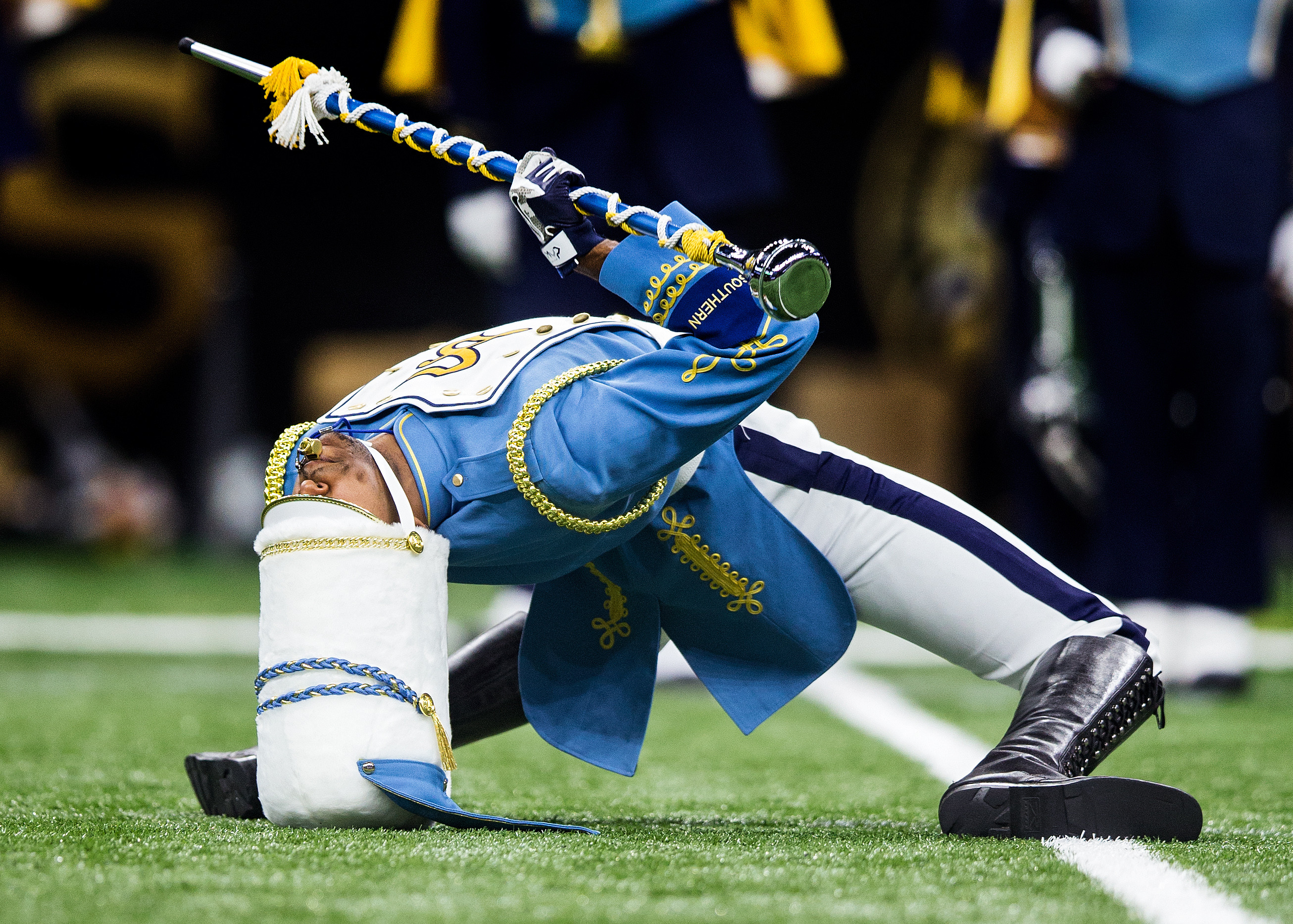 The Southern University Jaguars marching band entertain the crowd during the Bayou Classic with the Southern University Jaguars versus the Grambling State Tigers on November 26, 2016 at the Mercedes-Benz Superdome in New Orleans, Louisiana.
