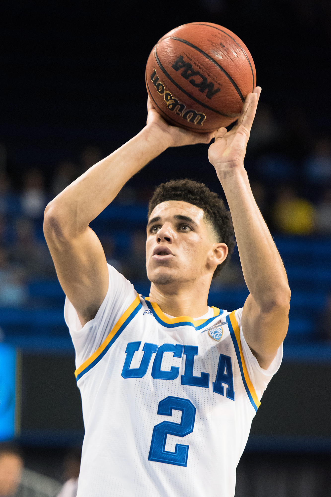 UCLA guard Lonzo Ball (2) shoots a free throw during an exhibition NCAA basketball game between the Master's University and the UCLA Bruins on November 1, 2016, at Pauley Pavilion in Los Angeles, CA.