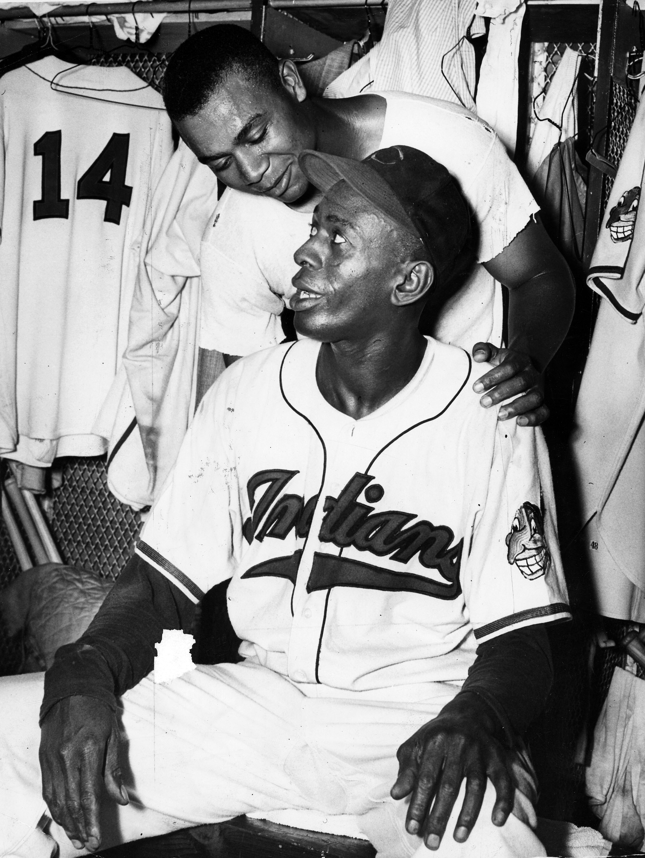 Satchel Paige and Larry Doby from the Cleveland Indians.