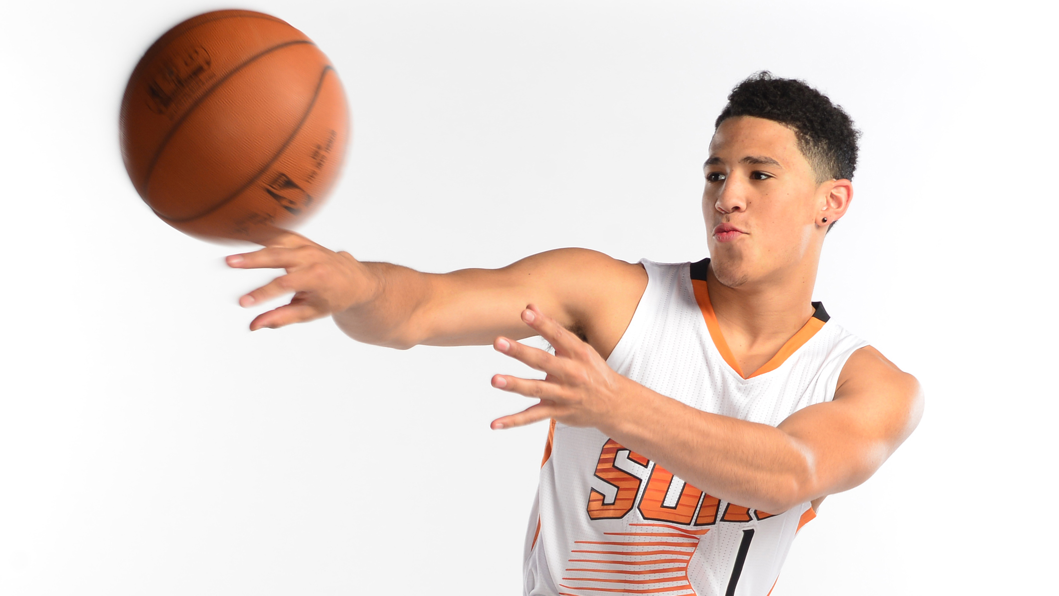 Phoenix Suns 2015 first road draft pick Devin Booker speaks with the media