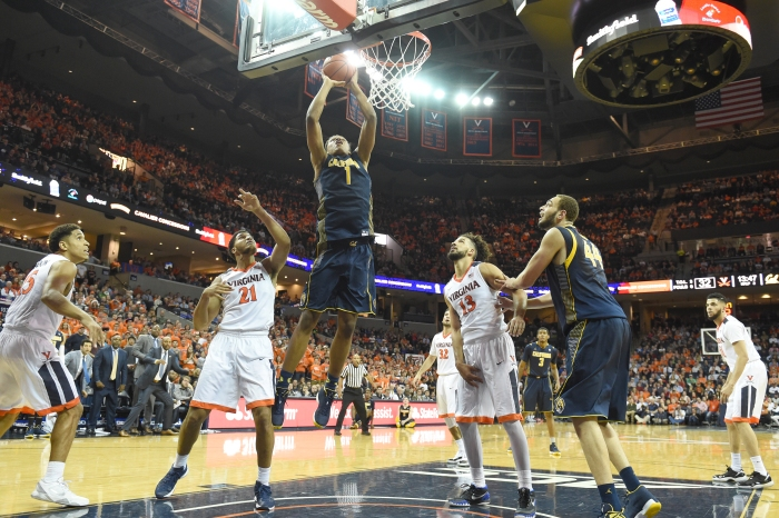 CHARLOTTESVILLE, VA - DECEMBER 22: Ivan Rabb #1 of the California Golden Bears takes a shot during a college basketball game against the Virginia Cavaliers at John Paul Jones Arena on December 22, 2015 in Charlottesville, Virginia.