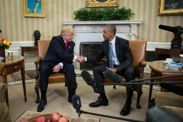 WASHINGTON, DC - NOVEMBER 10: President Barack Obama shakes hands with President-elect Donald Trump in the Oval Office of the White House in Washington, Thursday, Nov. 10, 2016.