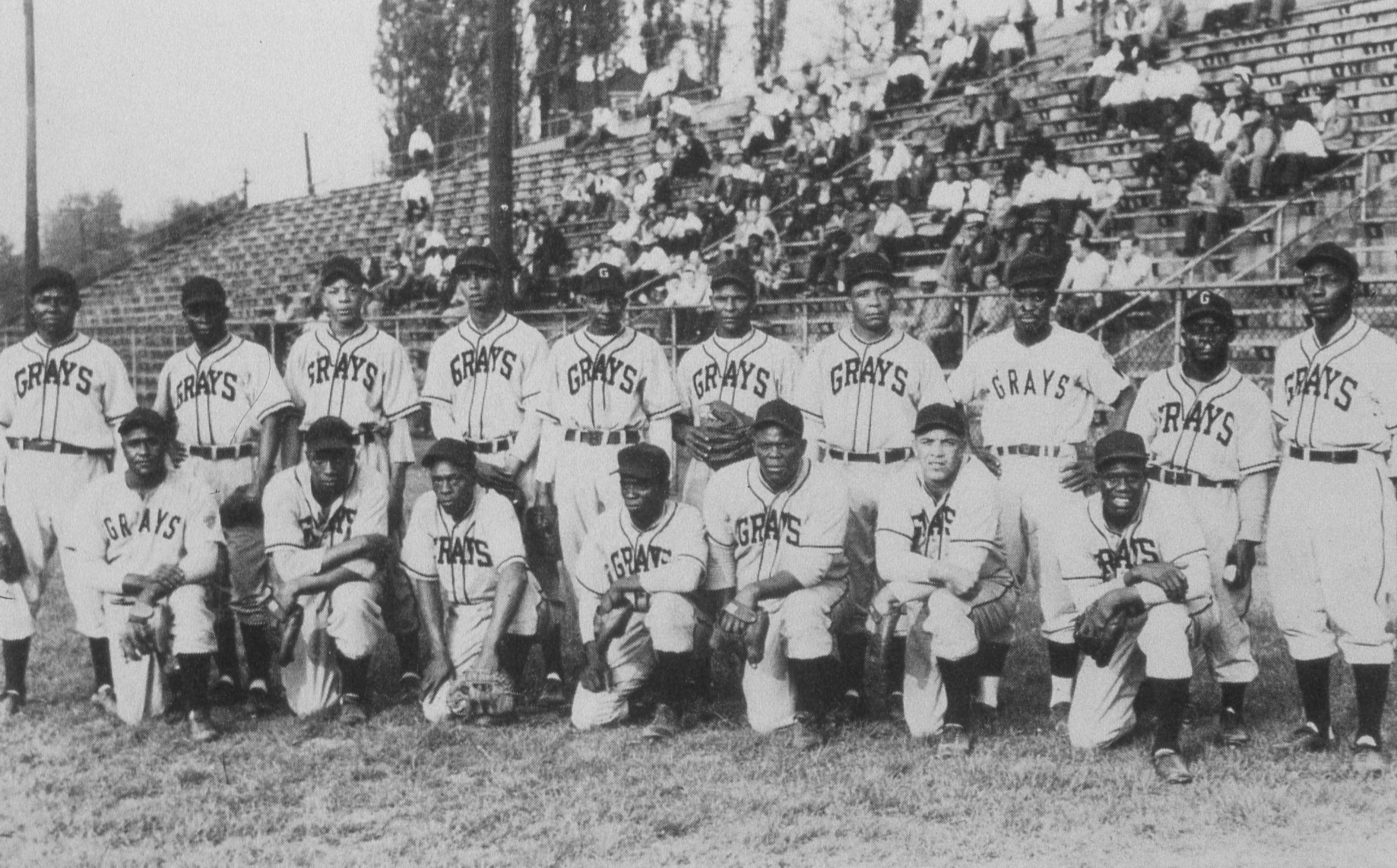The Homestead Grays of Pittsburgh, PA, pose for a 1948 team portrait in Pittsburgh.