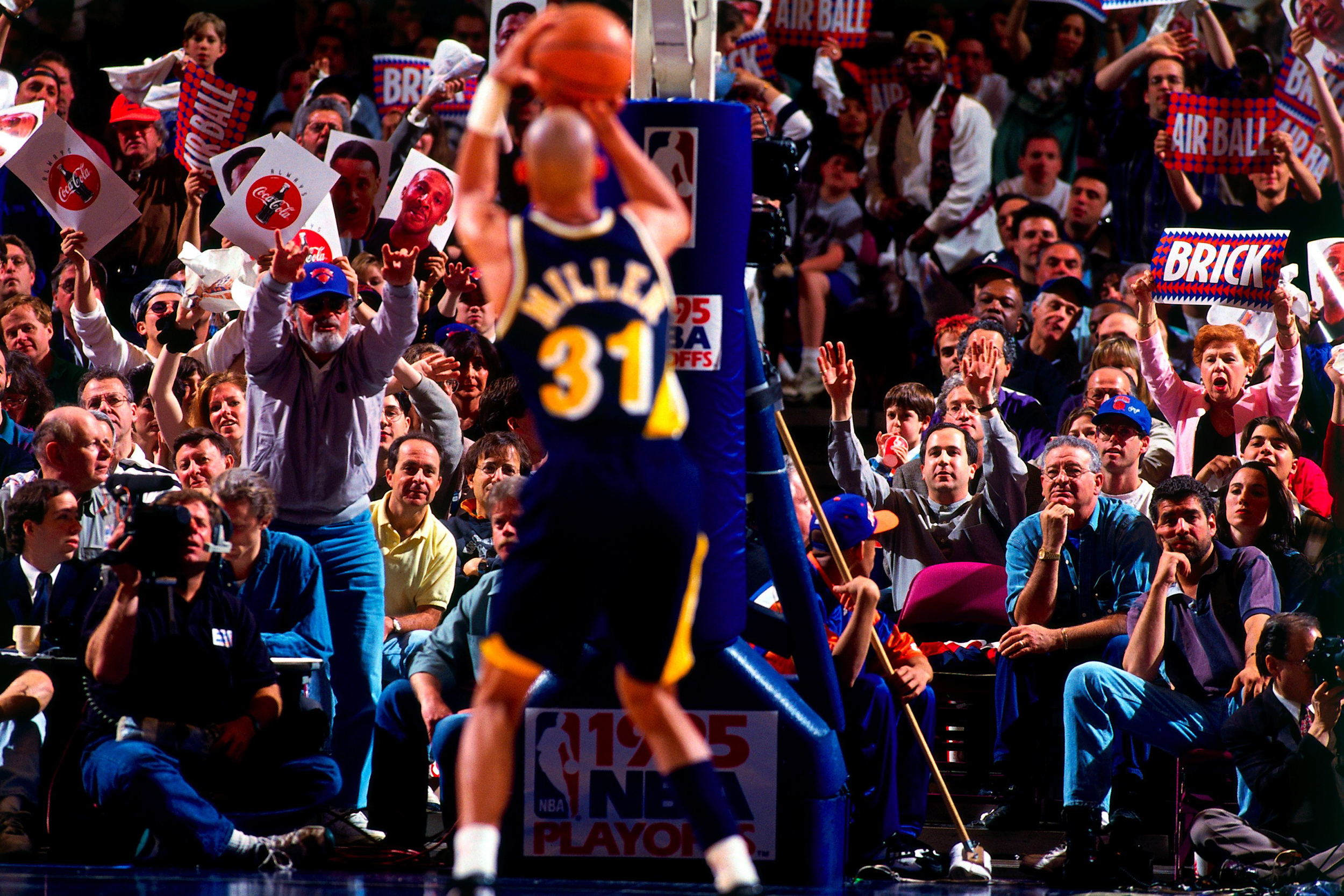 Reggie Miller #31 of the Indiana Pacers shoots a free-throw in Game One of the Eastern Conference Semifinals against the New York Knicks during the 1995 NBA Playoffs at Madison Square Garden on May 7, 1995 in New York, New York.